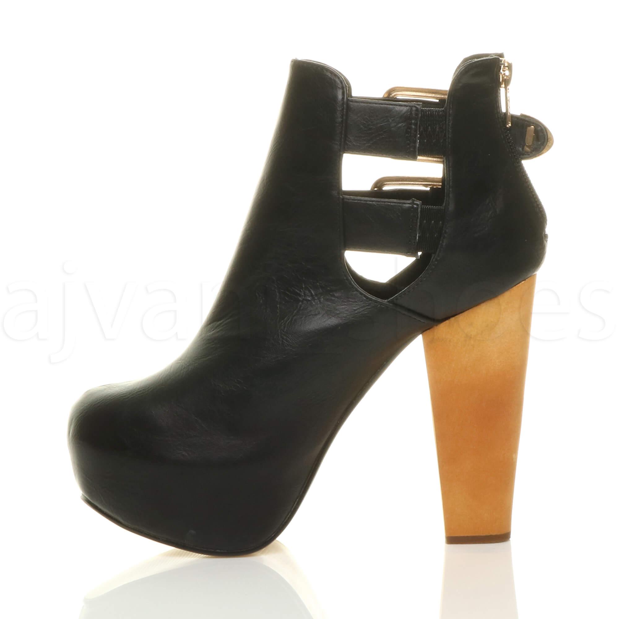 77521782994 Womens ladies wooden block high heel platform lace up zip party ...