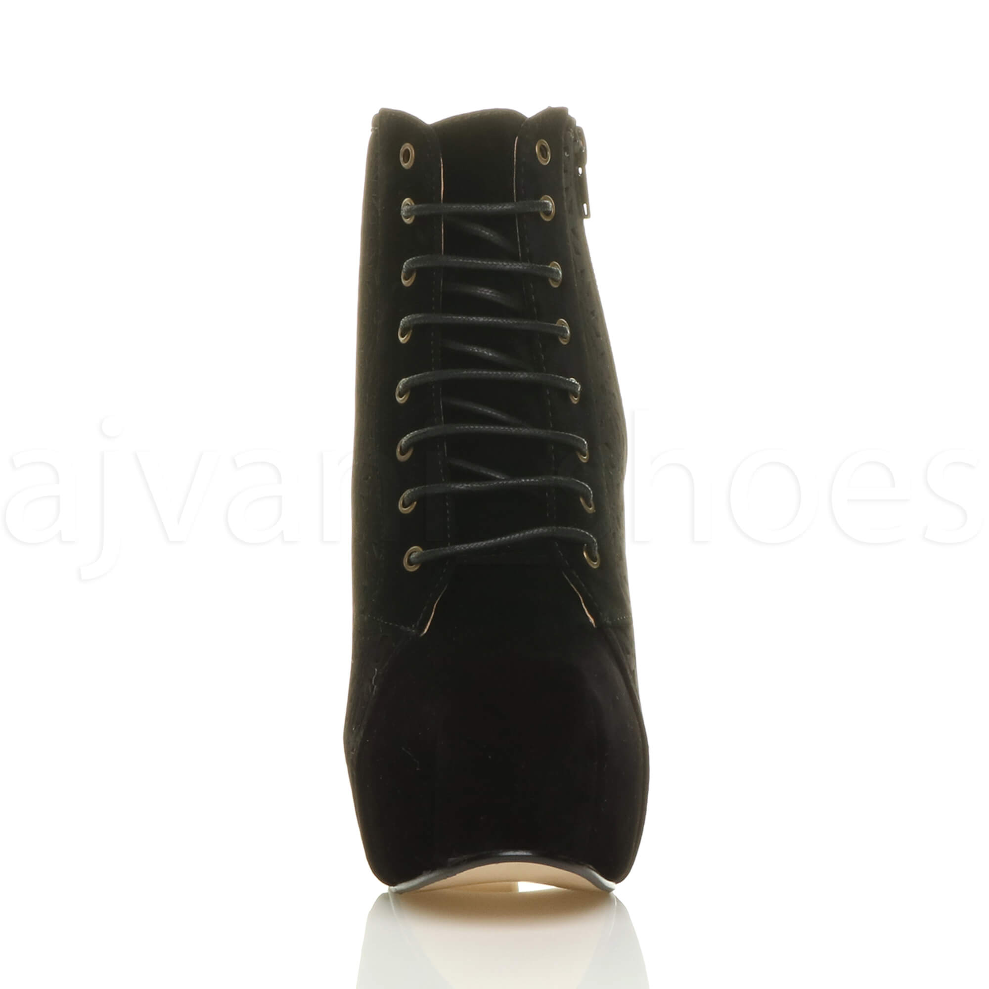 Womens-ladies-wooden-block-high-heel-platform-lace-up-zip-party-ankle-boots-size