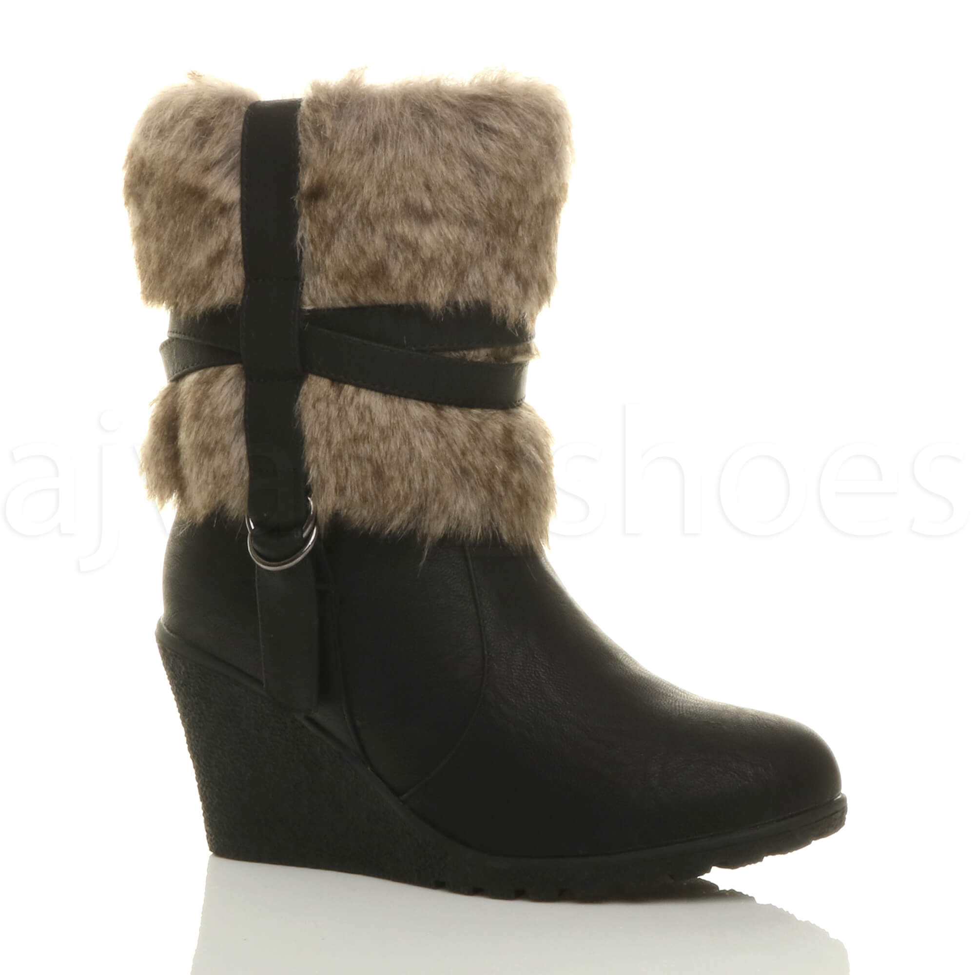 8b7e9e3822b WOMENS LADIES MID WEDGE HEEL FUR LINED CUFF ZIP STRAP ANKLE BOOTS ...