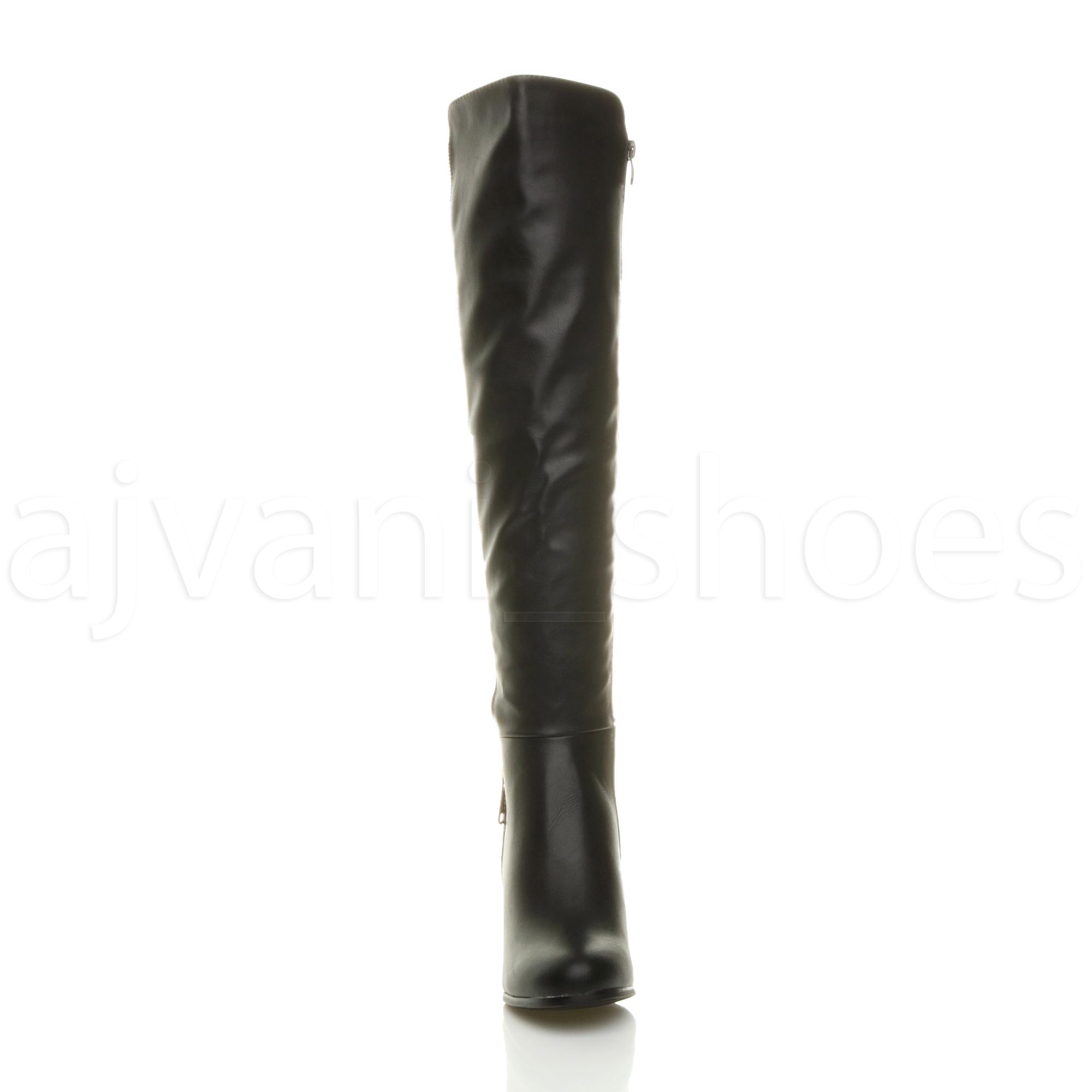 haut zip sur Détails cheval Femmes talon pointure bottes cuissardes élastique bloc d'or P0wnOk