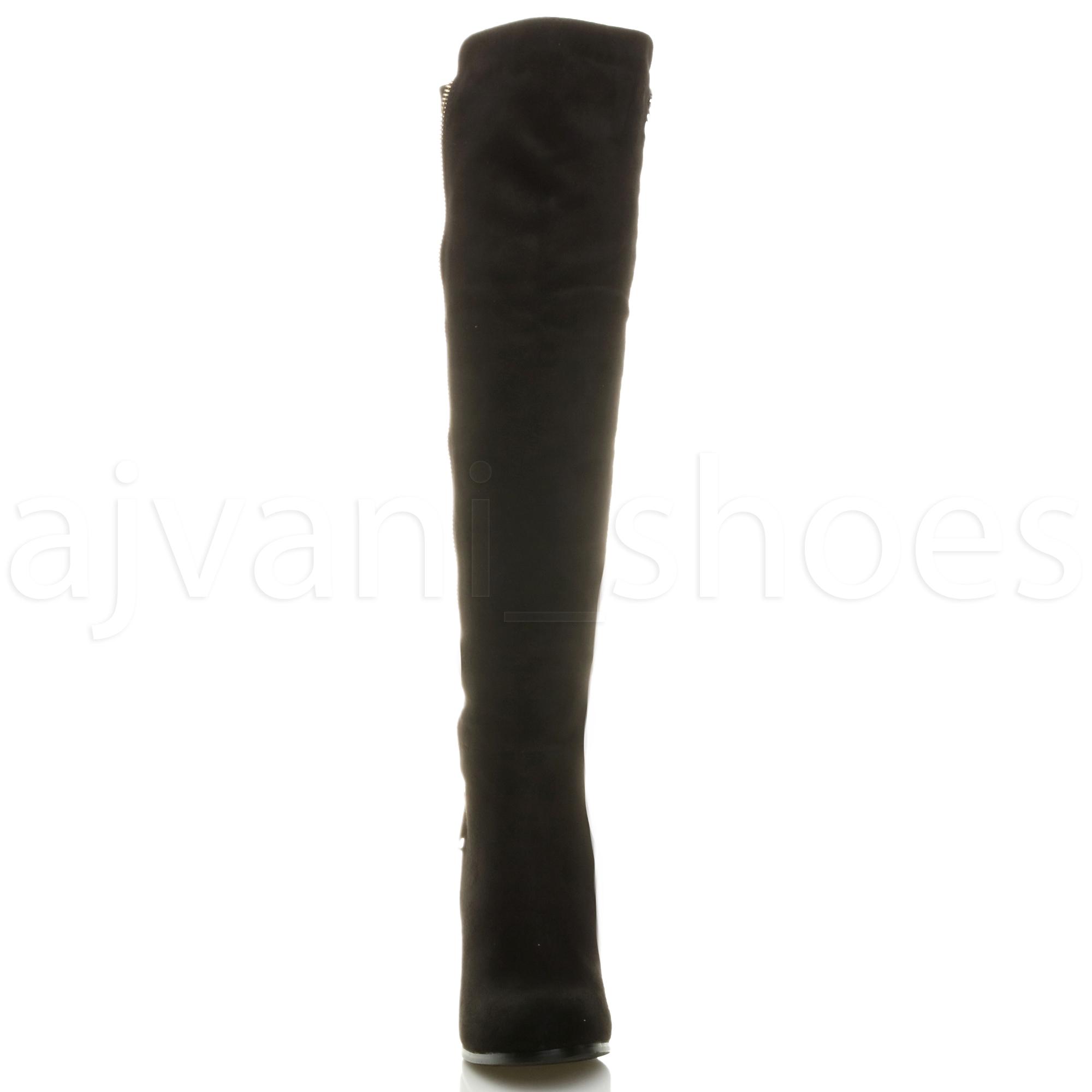 Femmes Haut Talon Bloc élastique Zip Bottes Cheval Cuissardes Pointure 5 38 CD1occrOXV