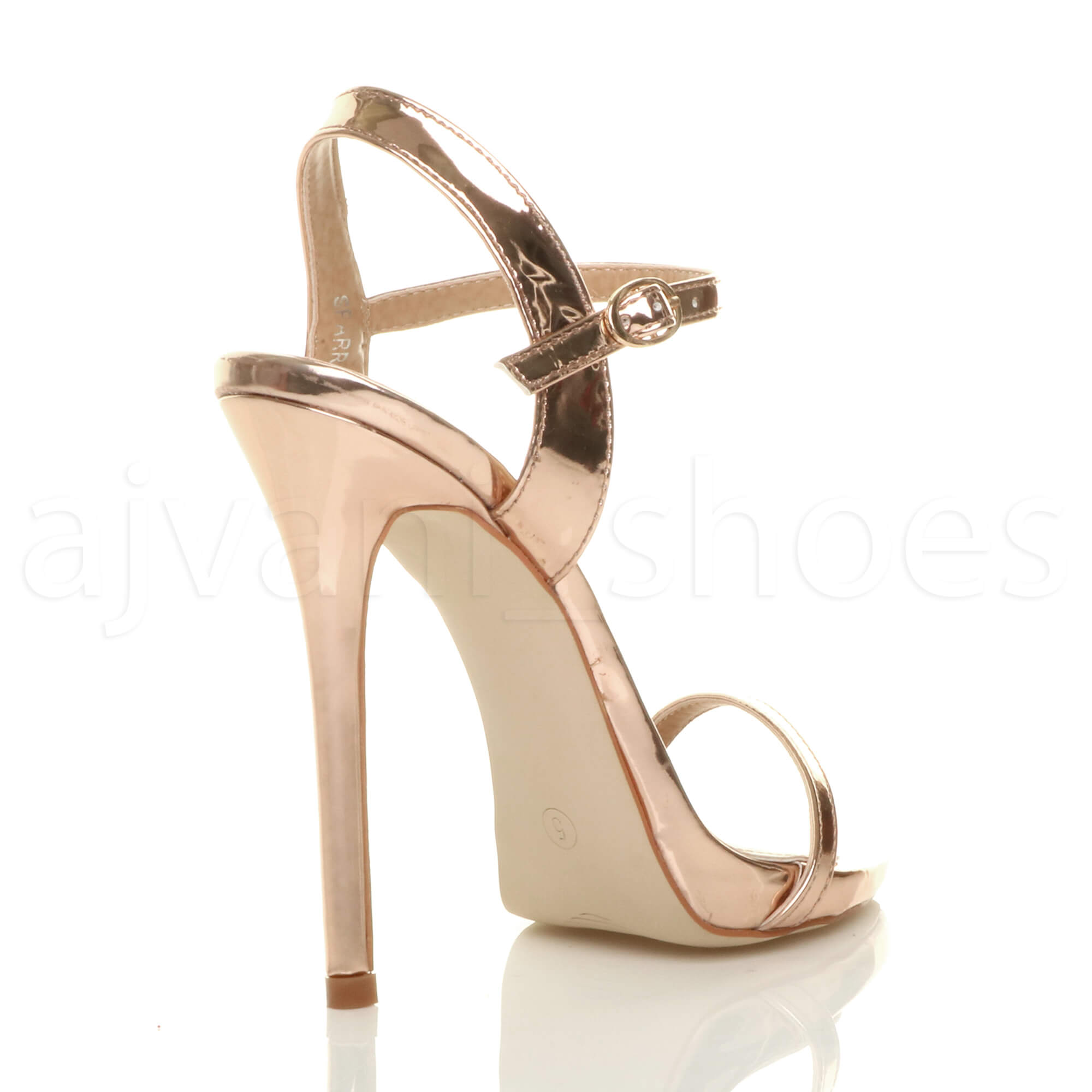 WOMENS-LADIES-VERY-HIGH-HEEL-BUCKLE-STRAPPY-METALLIC-BARELY-THERE-SANDALS-SIZE
