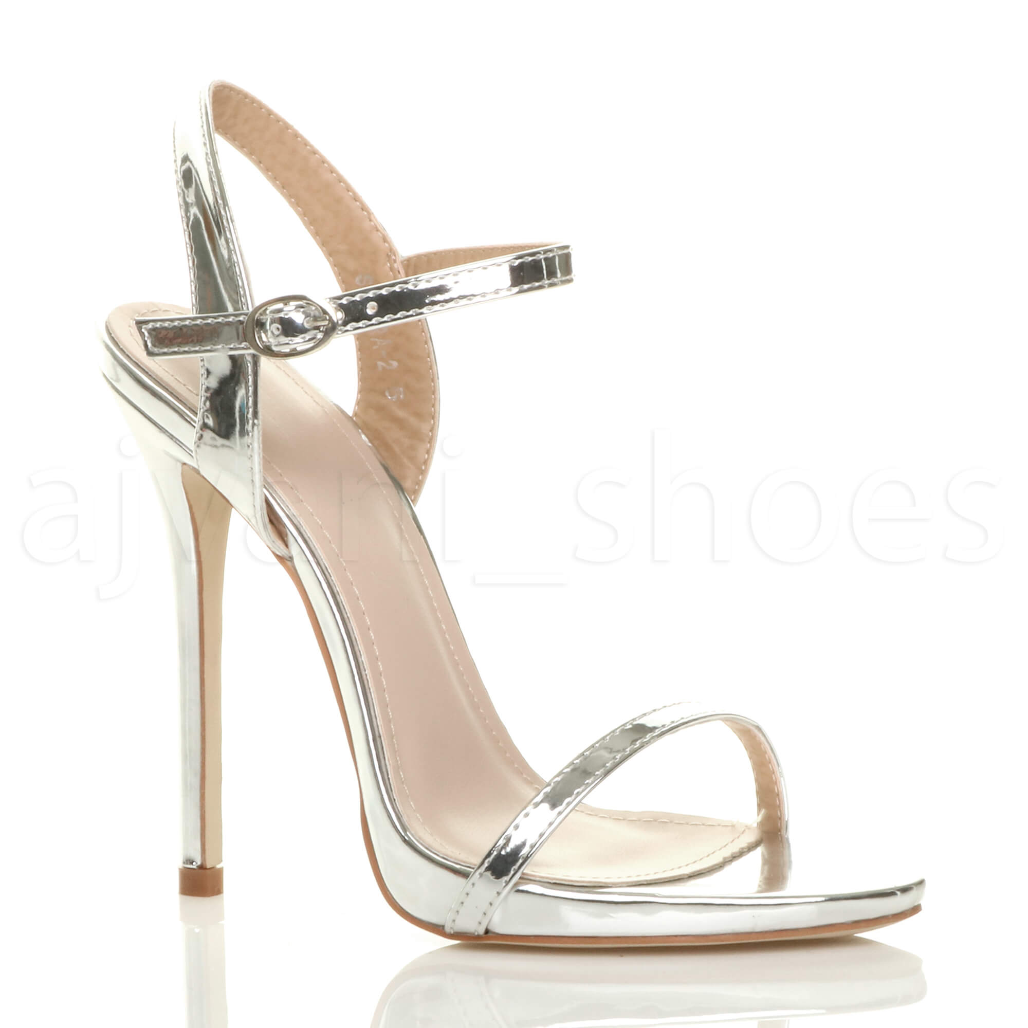 10b04da9371 WOMENS LADIES VERY HIGH HEEL BUCKLE STRAPPY METALLIC BARELY THERE SANDALS  SIZE