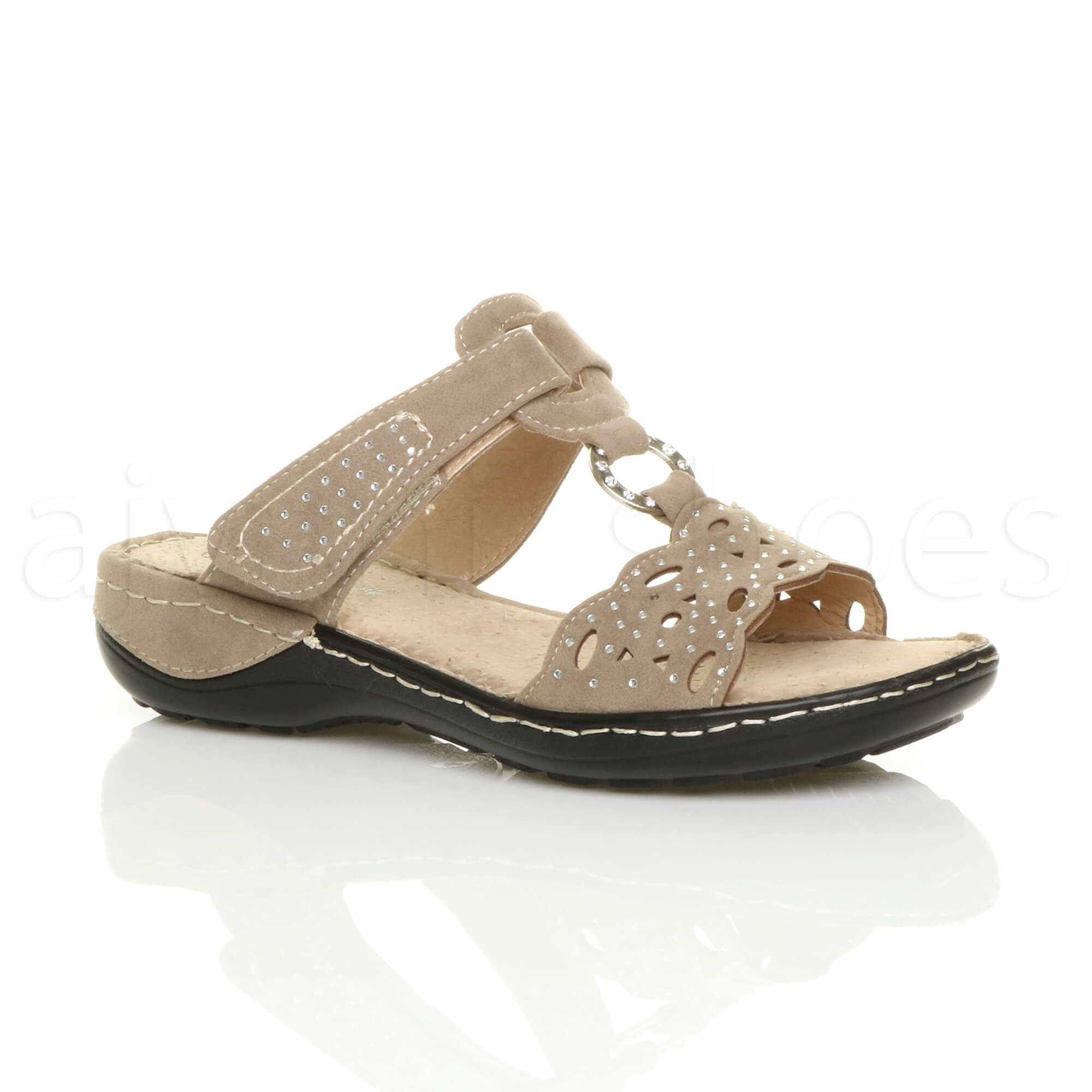 WOMENS-LADIES-LOW-MID-WEDGE-HEEL-COMFORT-PADDED-DIAMANTE-T-BAR-SANDALS-SIZE