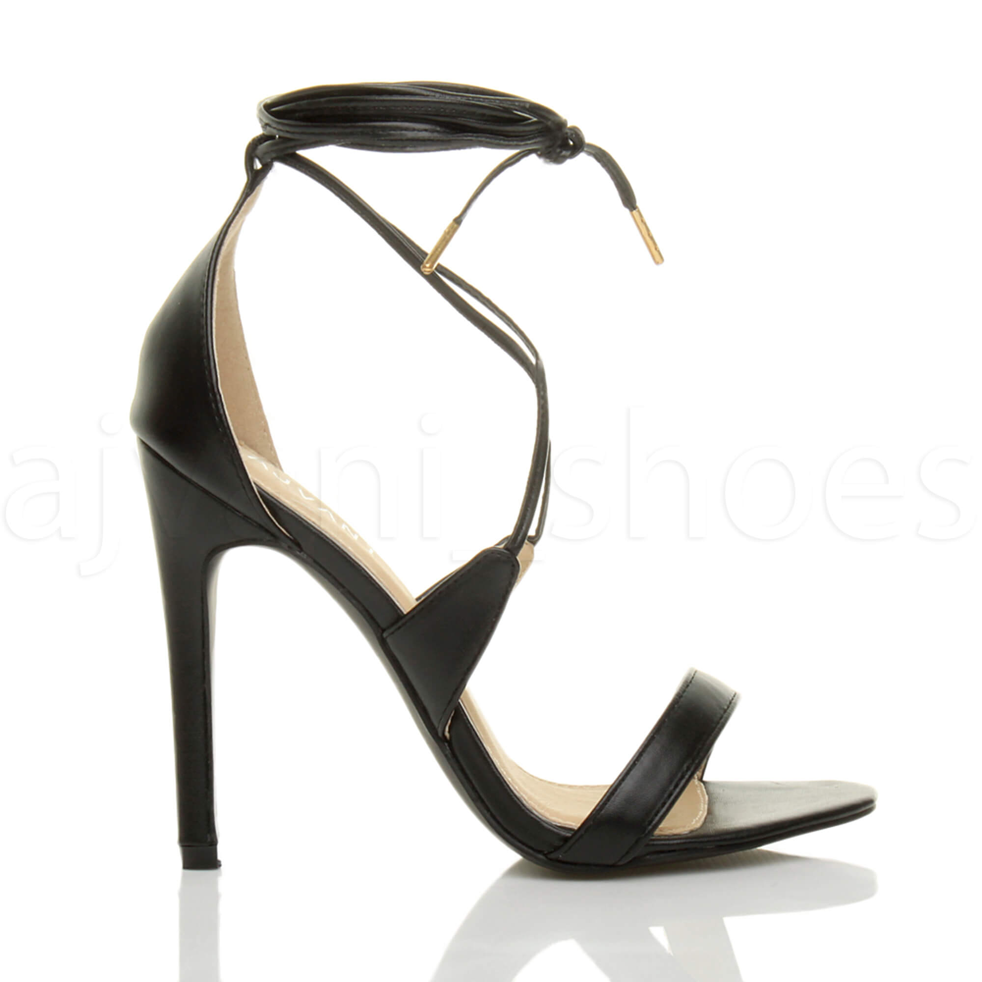 WOMENS-LADIES-HIGH-HEEL-BARELY-THERE-STRAPPY-LACE-TIE-UP-SANDALS-SHOES-SIZE thumbnail 3