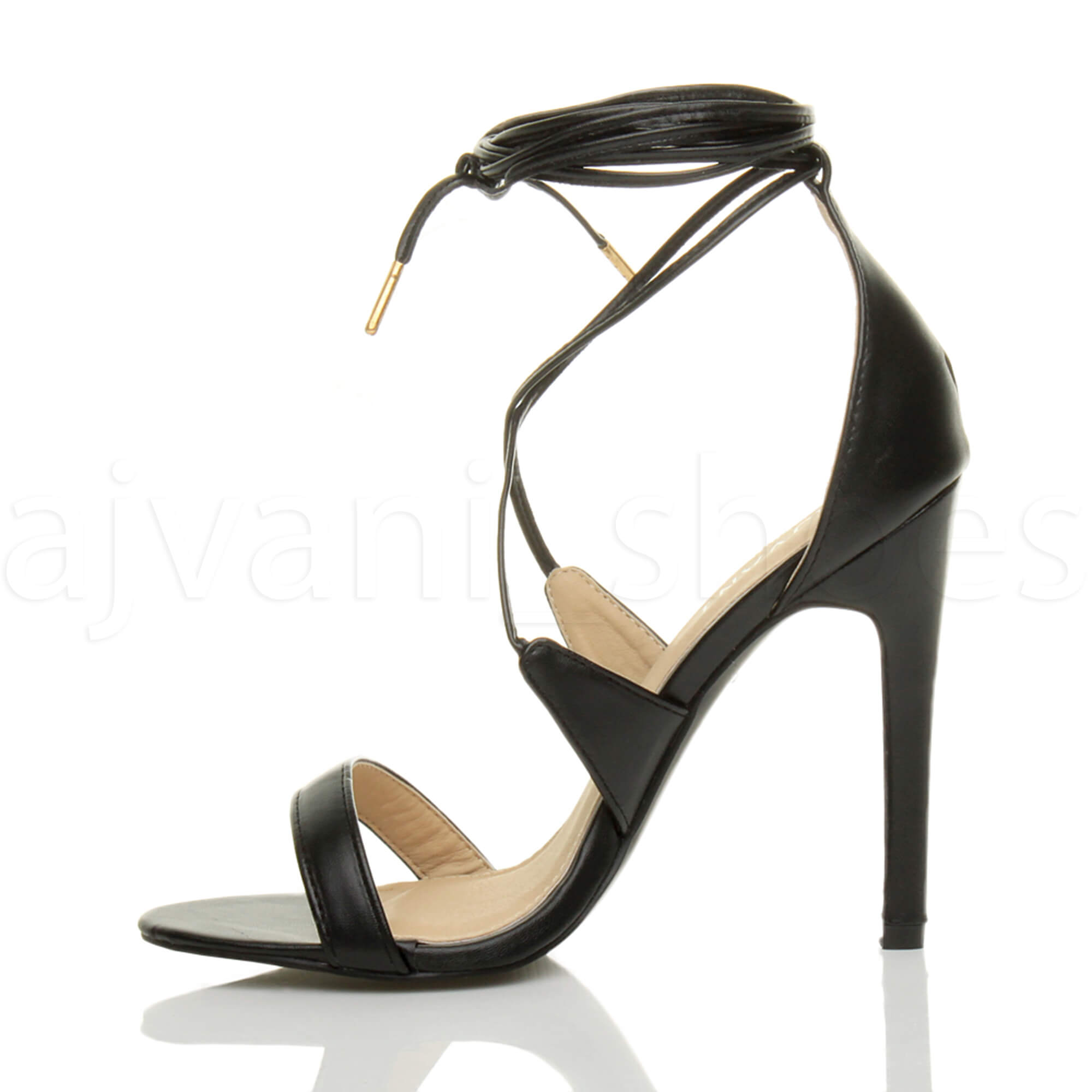 WOMENS-LADIES-HIGH-HEEL-BARELY-THERE-STRAPPY-LACE-TIE-UP-SANDALS-SHOES-SIZE thumbnail 4