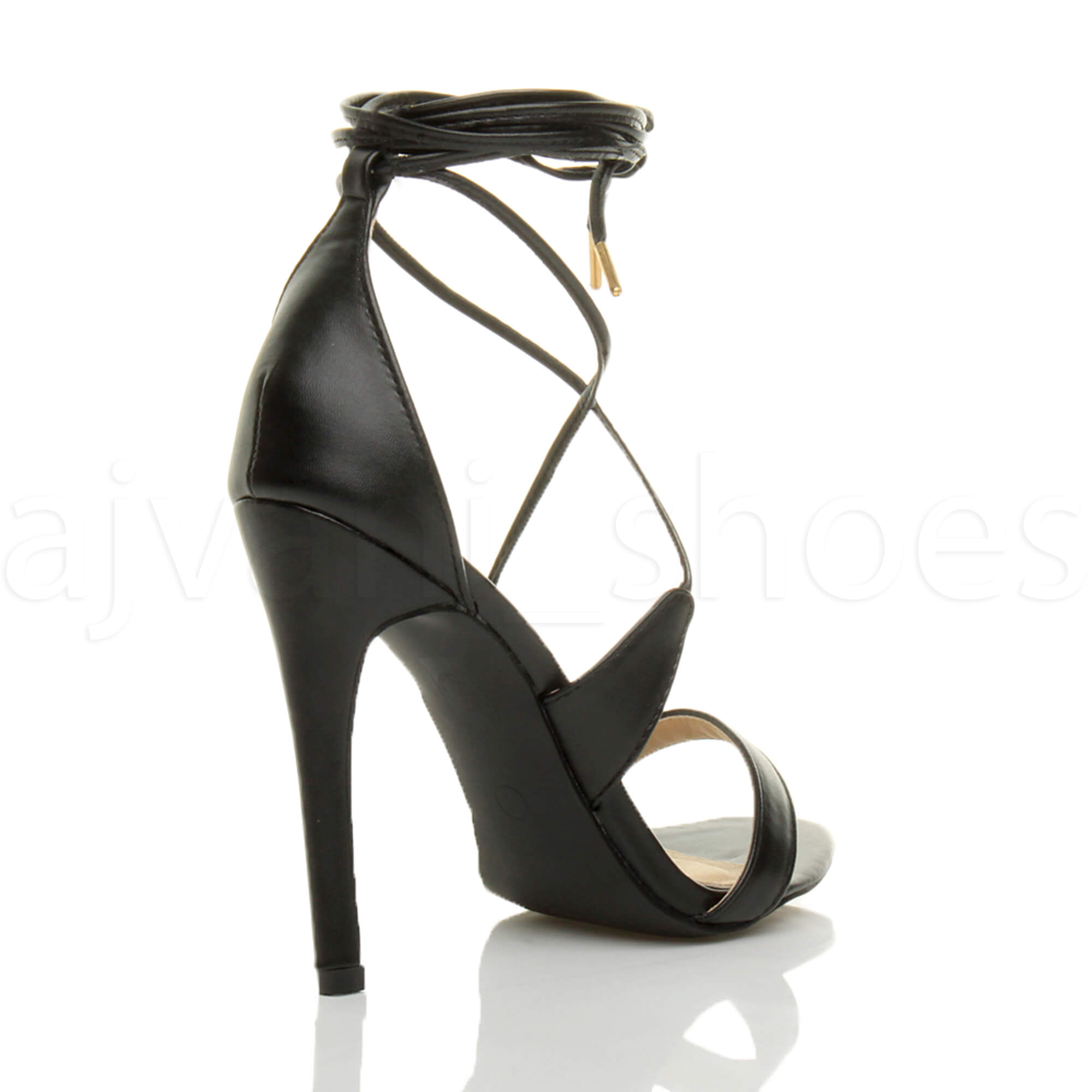 WOMENS-LADIES-HIGH-HEEL-BARELY-THERE-STRAPPY-LACE-TIE-UP-SANDALS-SHOES-SIZE thumbnail 5