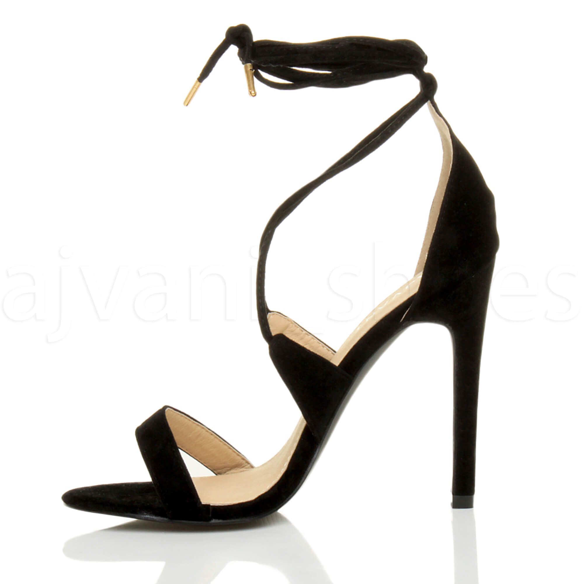 WOMENS-LADIES-HIGH-HEEL-BARELY-THERE-STRAPPY-LACE-TIE-UP-SANDALS-SHOES-SIZE thumbnail 10