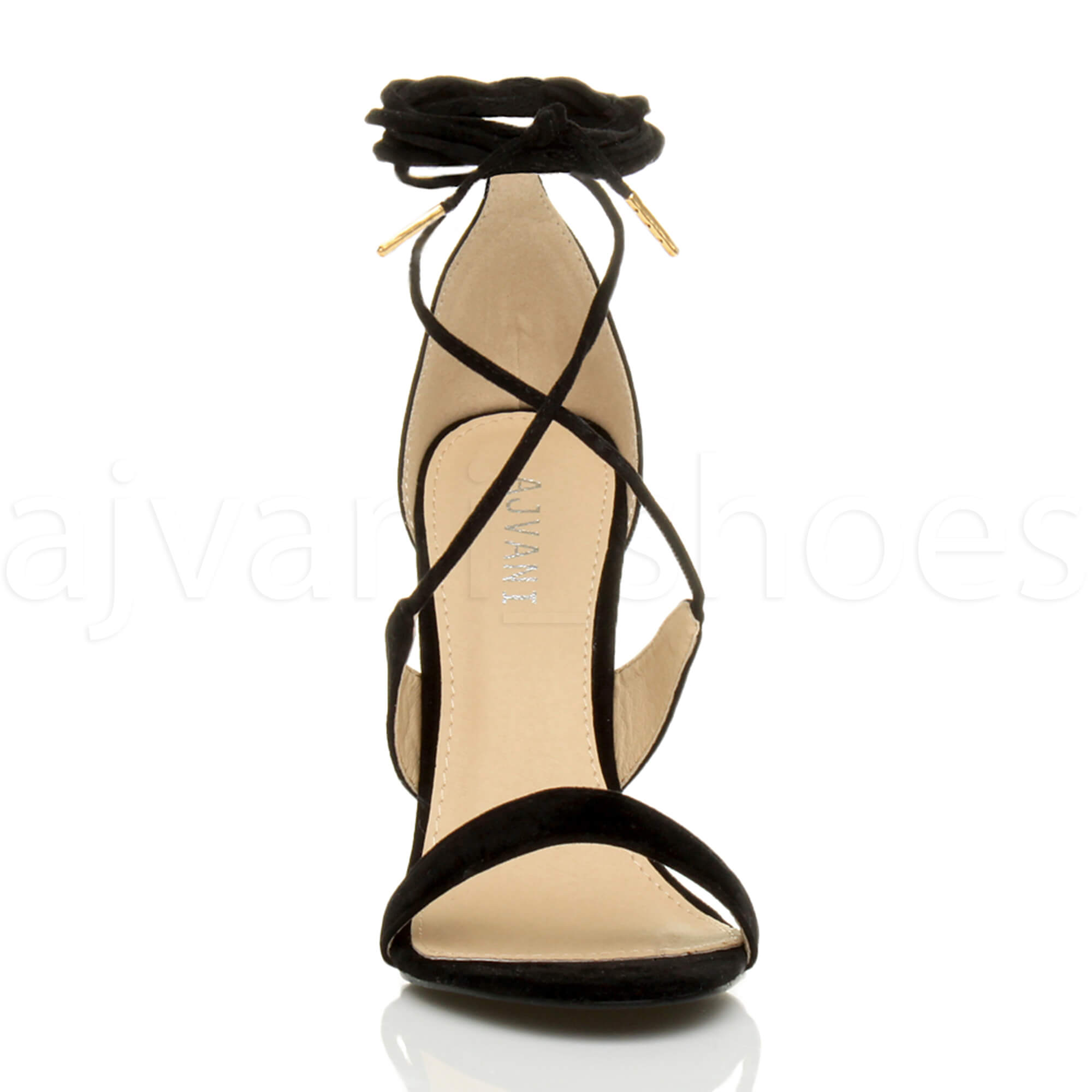 WOMENS-LADIES-HIGH-HEEL-BARELY-THERE-STRAPPY-LACE-TIE-UP-SANDALS-SHOES-SIZE thumbnail 13