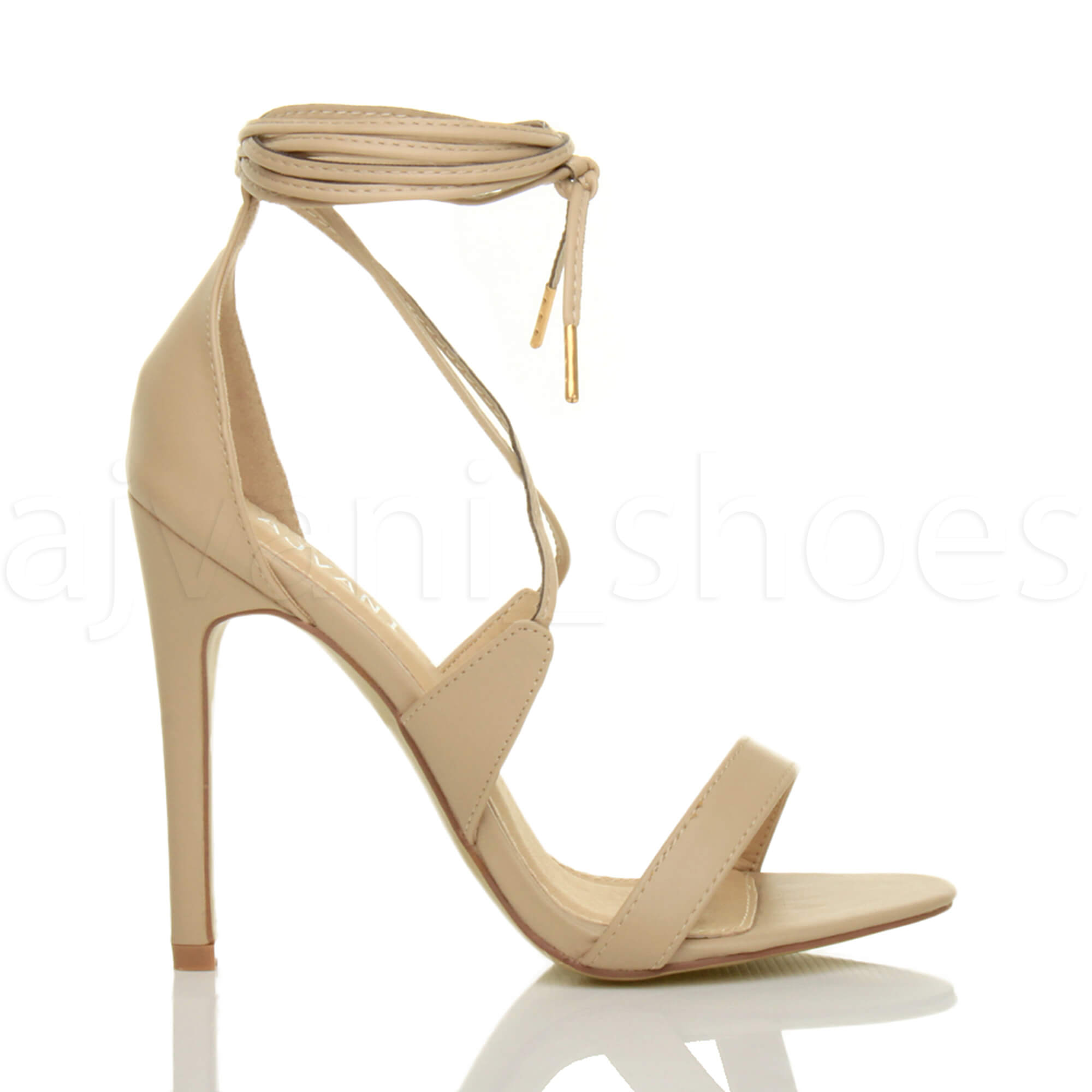WOMENS-LADIES-HIGH-HEEL-BARELY-THERE-STRAPPY-LACE-TIE-UP-SANDALS-SHOES-SIZE thumbnail 33