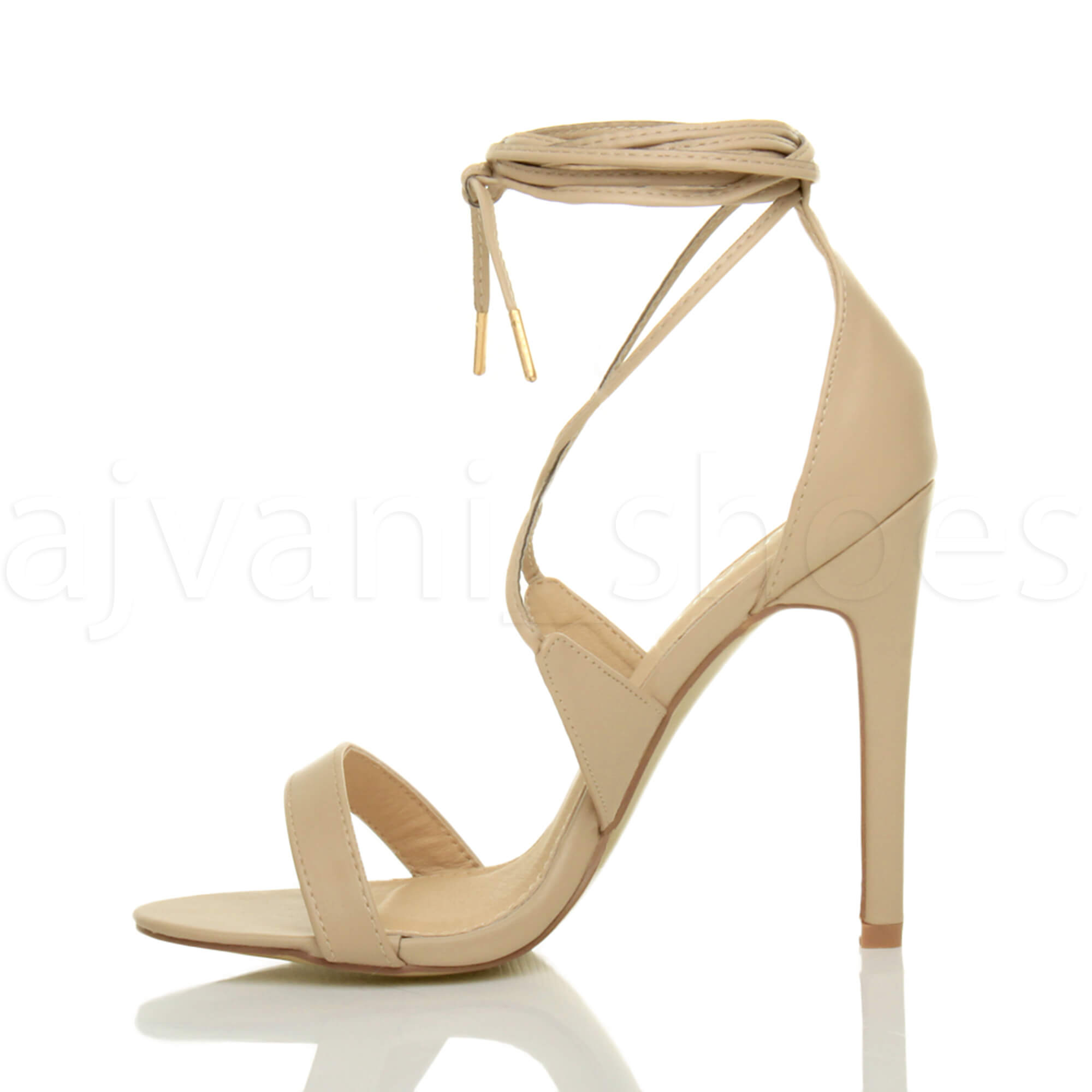 WOMENS-LADIES-HIGH-HEEL-BARELY-THERE-STRAPPY-LACE-TIE-UP-SANDALS-SHOES-SIZE thumbnail 34