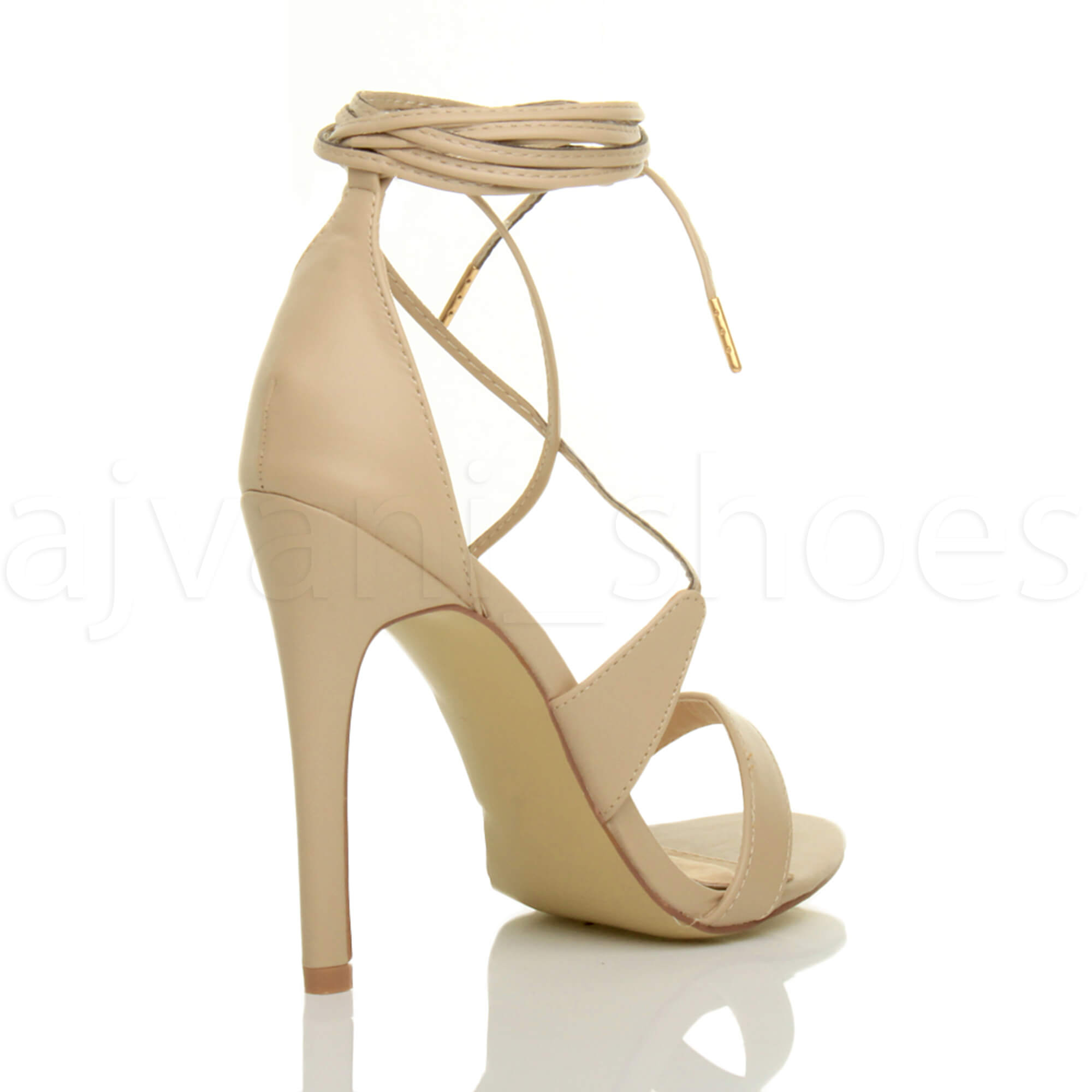WOMENS-LADIES-HIGH-HEEL-BARELY-THERE-STRAPPY-LACE-TIE-UP-SANDALS-SHOES-SIZE thumbnail 35