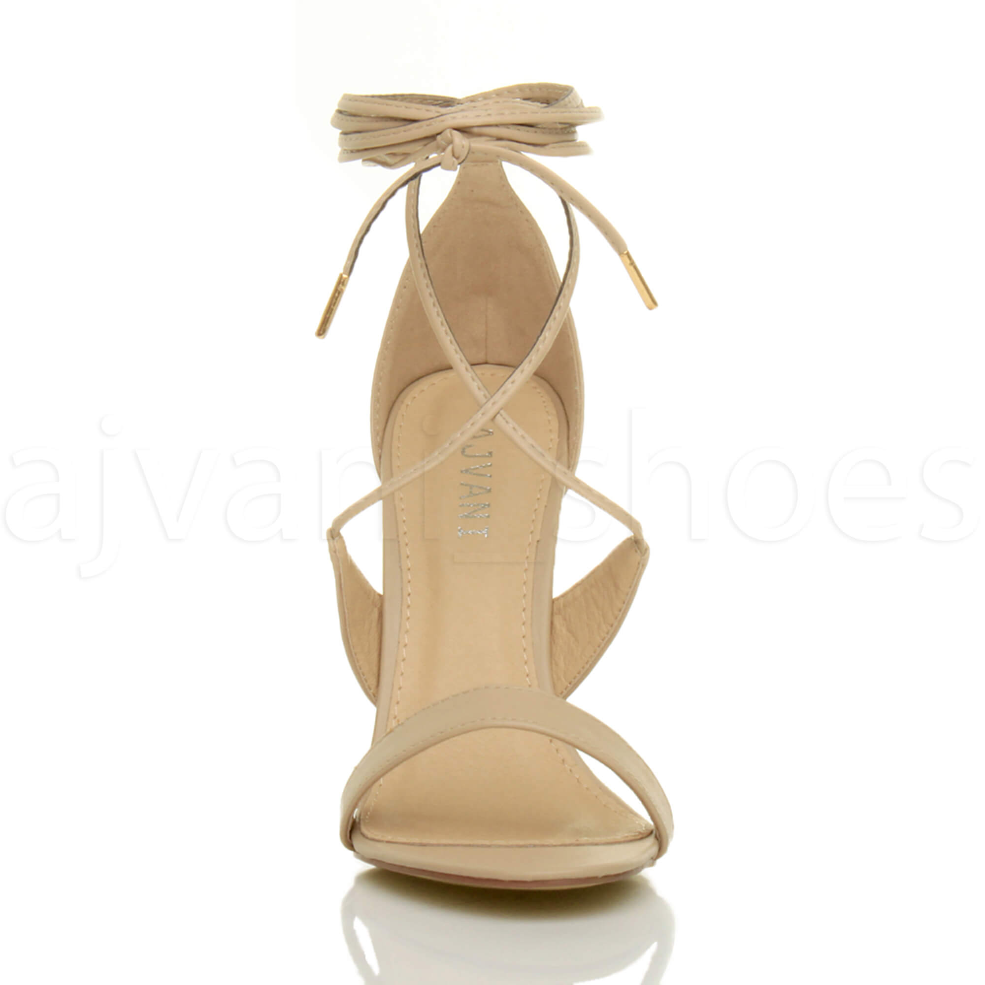 WOMENS-LADIES-HIGH-HEEL-BARELY-THERE-STRAPPY-LACE-TIE-UP-SANDALS-SHOES-SIZE thumbnail 37