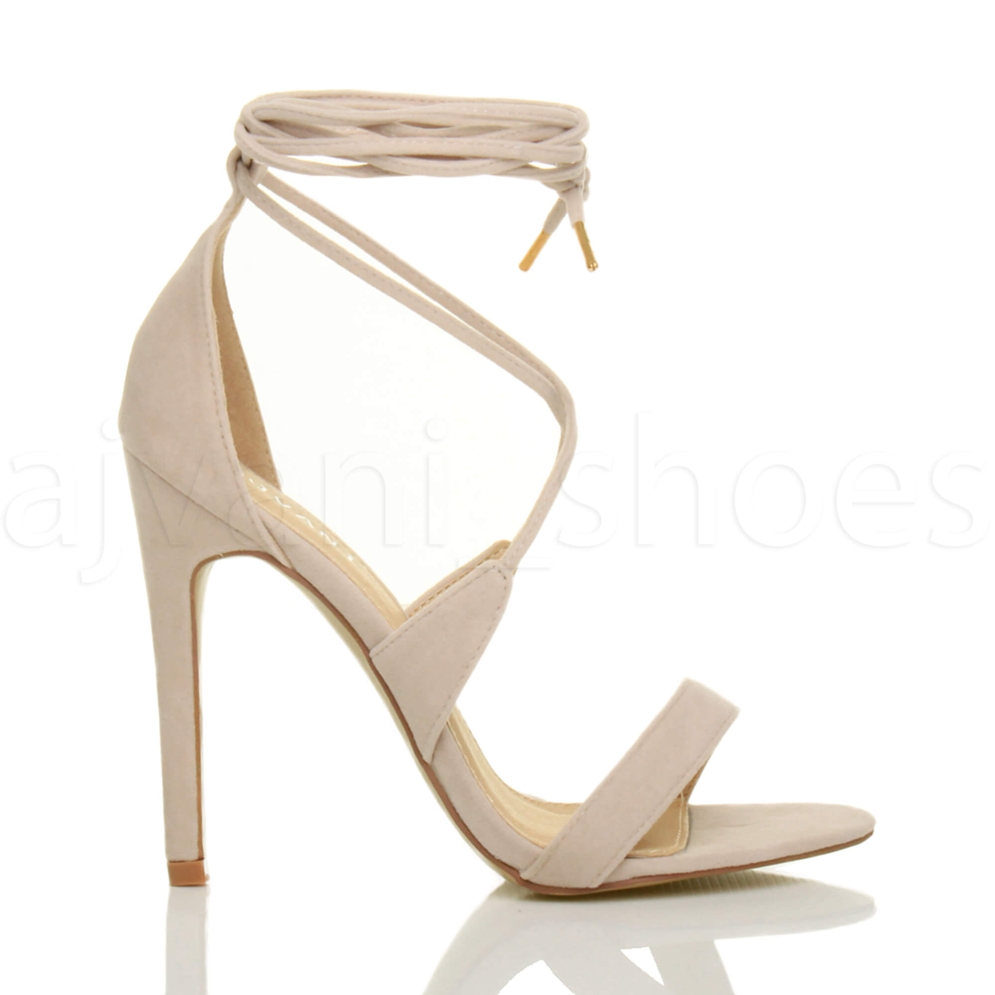 WOMENS-LADIES-HIGH-HEEL-BARELY-THERE-STRAPPY-LACE-TIE-UP-SANDALS-SHOES-SIZE thumbnail 39