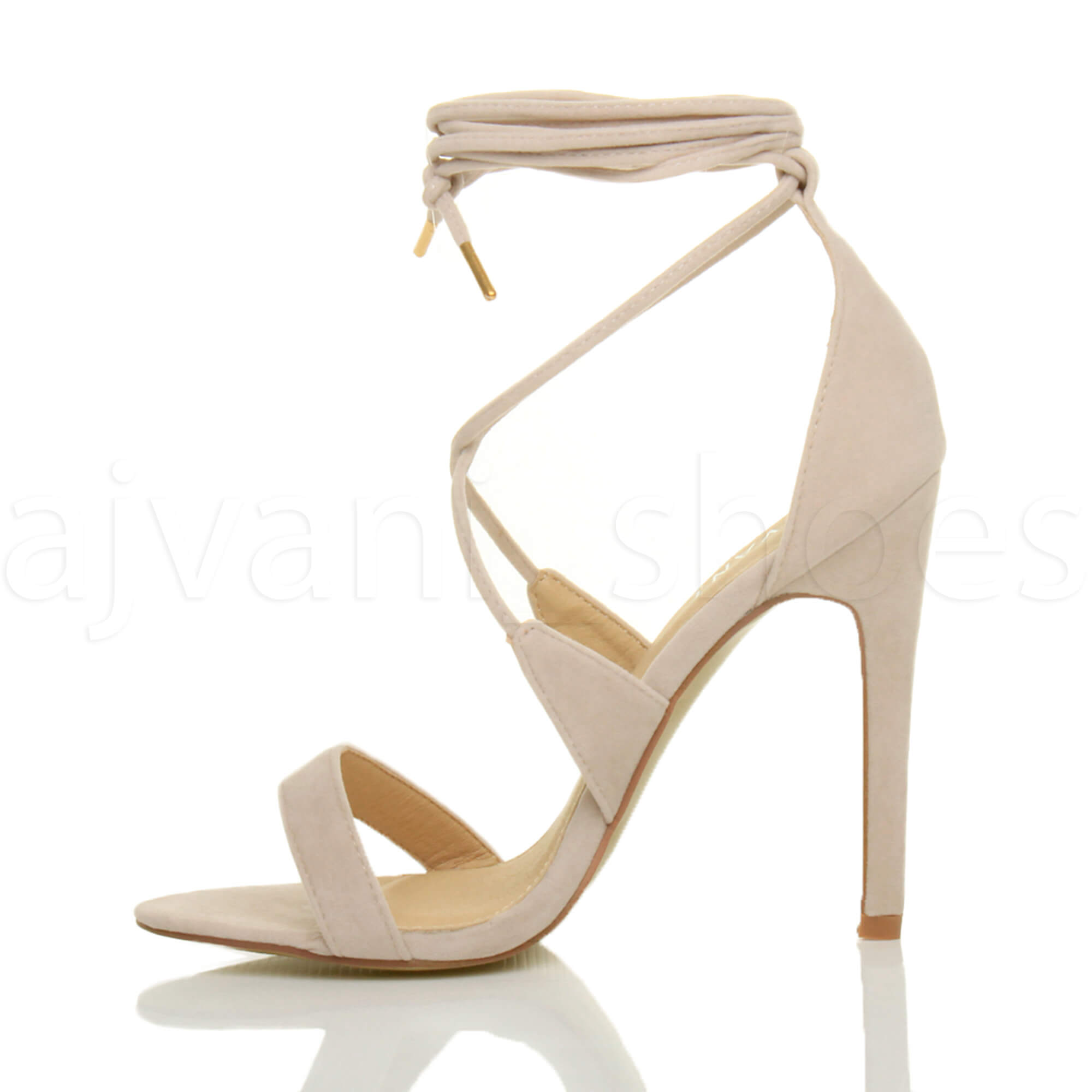 WOMENS-LADIES-HIGH-HEEL-BARELY-THERE-STRAPPY-LACE-TIE-UP-SANDALS-SHOES-SIZE thumbnail 40