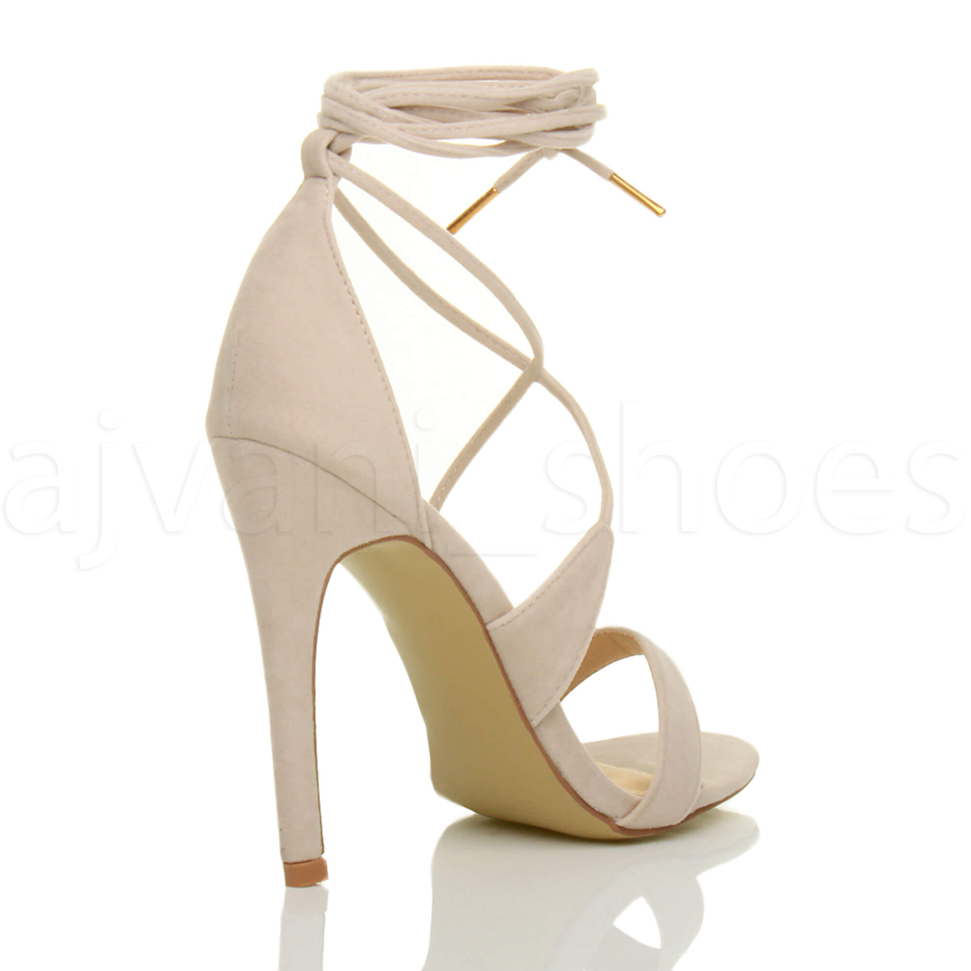 WOMENS-LADIES-HIGH-HEEL-BARELY-THERE-STRAPPY-LACE-TIE-UP-SANDALS-SHOES-SIZE thumbnail 41