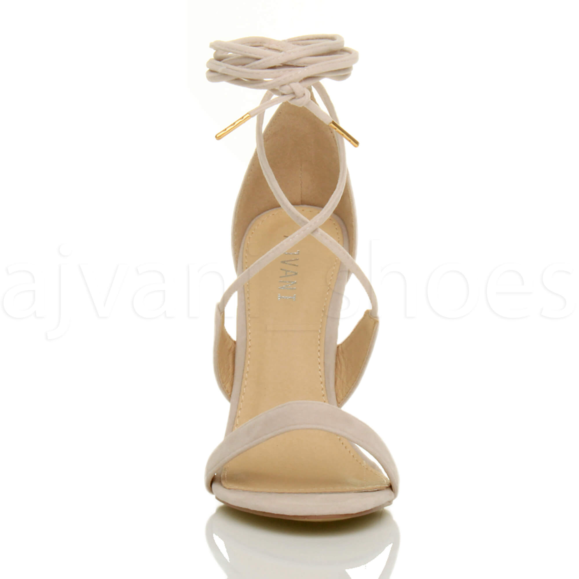 WOMENS-LADIES-HIGH-HEEL-BARELY-THERE-STRAPPY-LACE-TIE-UP-SANDALS-SHOES-SIZE thumbnail 43