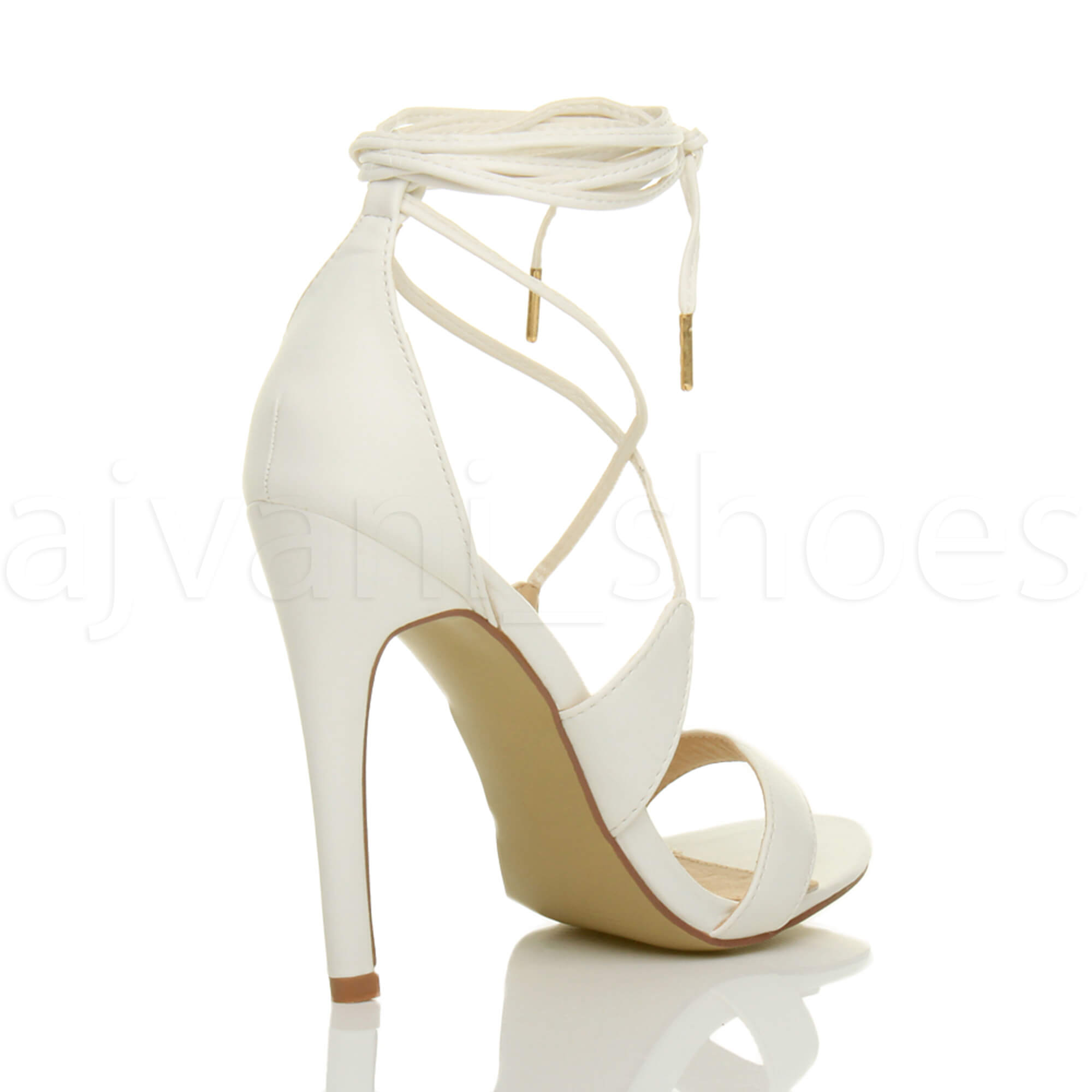 WOMENS-LADIES-HIGH-HEEL-BARELY-THERE-STRAPPY-LACE-TIE-UP-SANDALS-SHOES-SIZE thumbnail 53