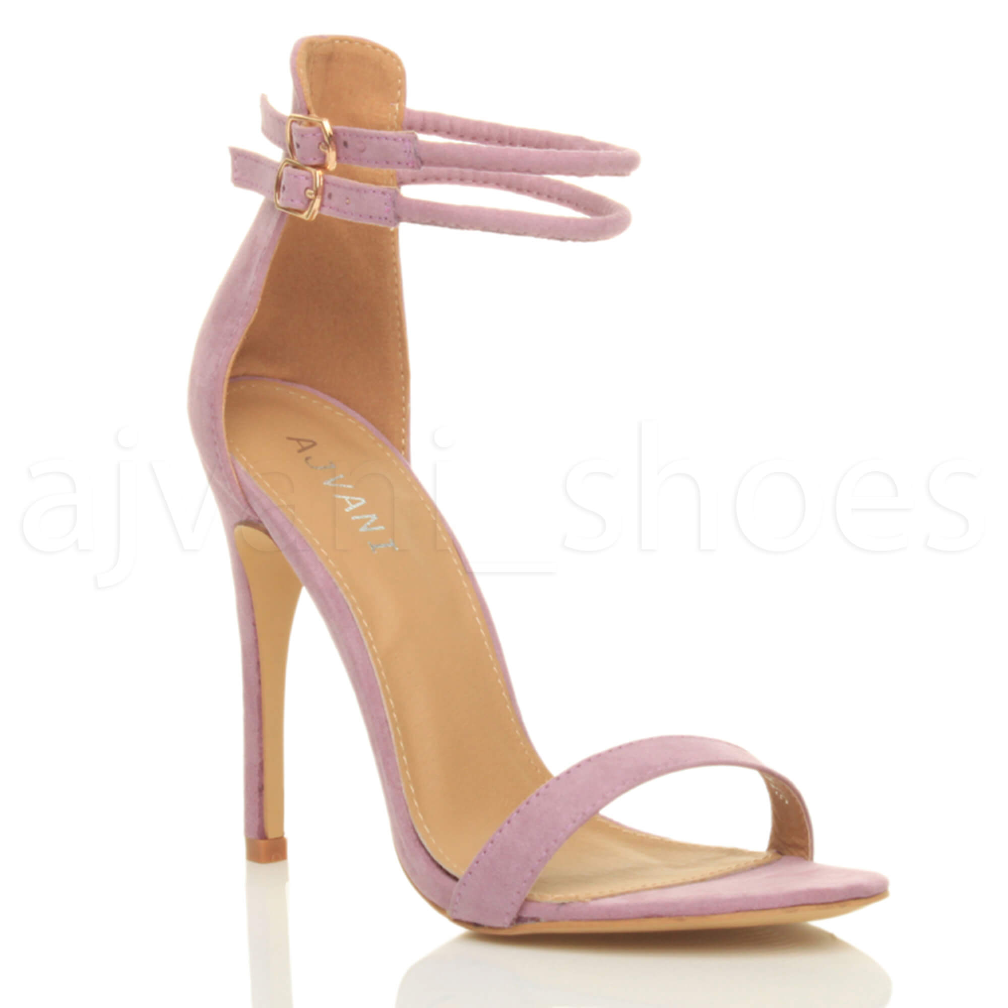 WOMENS-LADIES-BARELY-THERE-HIGH-HEEL-ANKLE-CROSS-STRAPPY-BUCKLE-PARTY-SANDALS