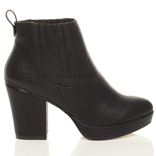 WOMENS-LADIES-HIGH-HEEL-BLOCK-PLATFORM-ANKLE-LOW-CHELSEA-BOOTS-BOOTIES-SIZE thumbnail 8