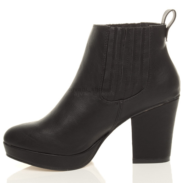 WOMENS-LADIES-HIGH-HEEL-BLOCK-PLATFORM-ANKLE-LOW-CHELSEA-BOOTS-BOOTIES-SIZE thumbnail 9