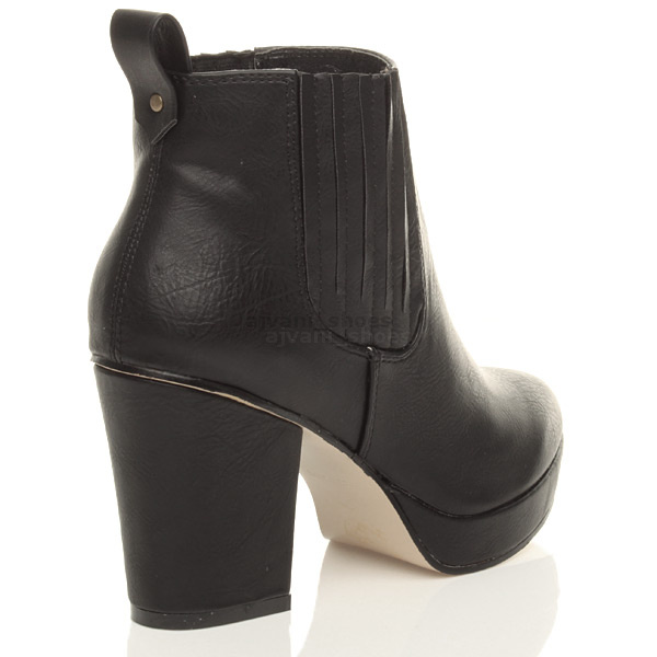 WOMENS-LADIES-HIGH-HEEL-BLOCK-PLATFORM-ANKLE-LOW-CHELSEA-BOOTS-BOOTIES-SIZE thumbnail 10