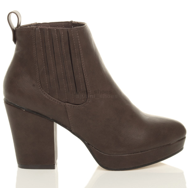 WOMENS-LADIES-HIGH-HEEL-BLOCK-PLATFORM-ANKLE-LOW-CHELSEA-BOOTS-BOOTIES-SIZE thumbnail 13