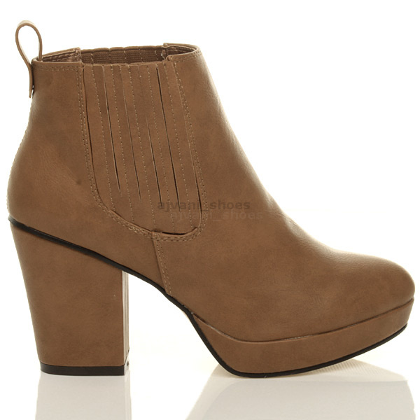 WOMENS-LADIES-HIGH-HEEL-BLOCK-PLATFORM-ANKLE-LOW-CHELSEA-BOOTS-BOOTIES-SIZE thumbnail 18