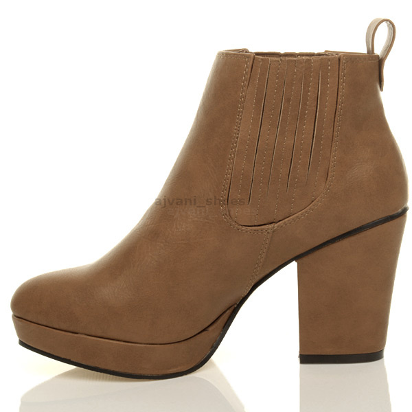WOMENS-LADIES-HIGH-HEEL-BLOCK-PLATFORM-ANKLE-LOW-CHELSEA-BOOTS-BOOTIES-SIZE thumbnail 19