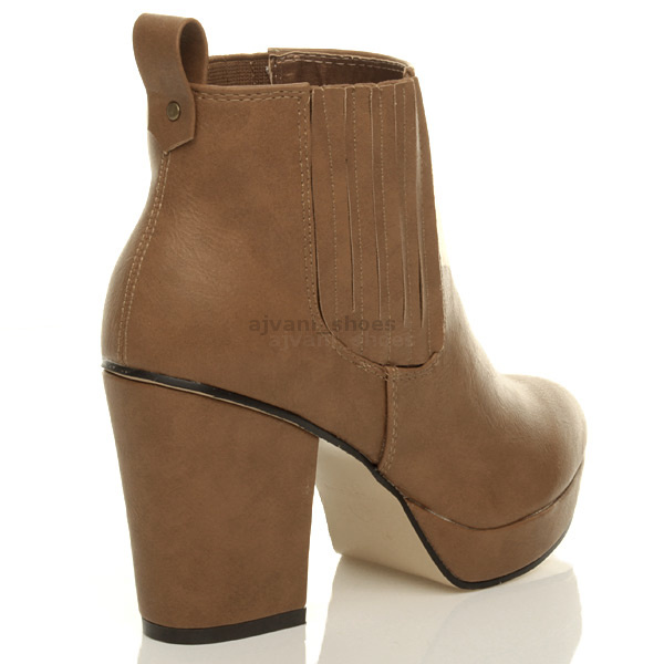 WOMENS-LADIES-HIGH-HEEL-BLOCK-PLATFORM-ANKLE-LOW-CHELSEA-BOOTS-BOOTIES-SIZE thumbnail 20