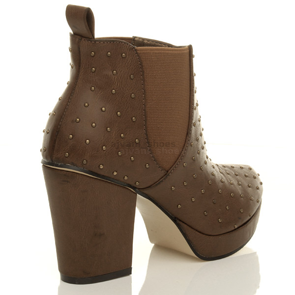 WOMENS-LADIES-HIGH-HEEL-BLOCK-PLATFORM-ANKLE-LOW-CHELSEA-BOOTS-BOOTIES-SIZE thumbnail 25