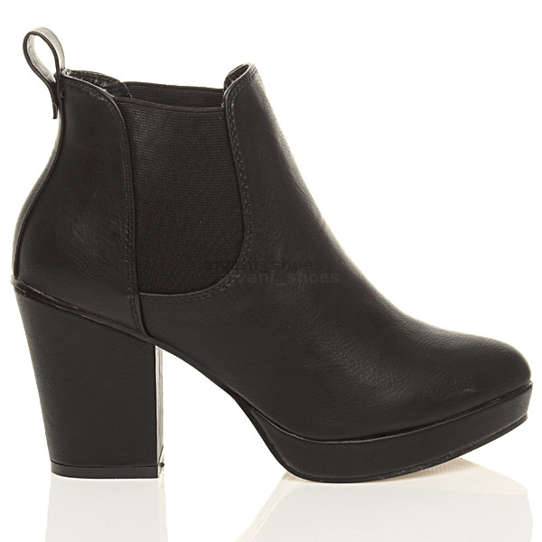 WOMENS-LADIES-HIGH-HEEL-BLOCK-PLATFORM-ANKLE-LOW-CHELSEA-BOOTS-BOOTIES-SIZE thumbnail 3