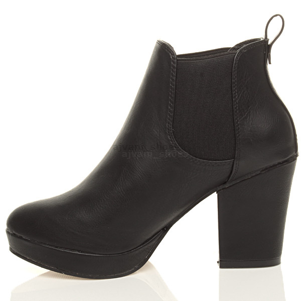 WOMENS-LADIES-HIGH-HEEL-BLOCK-PLATFORM-ANKLE-LOW-CHELSEA-BOOTS-BOOTIES-SIZE thumbnail 4