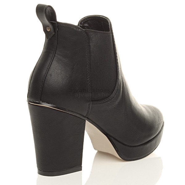 WOMENS-LADIES-HIGH-HEEL-BLOCK-PLATFORM-ANKLE-LOW-CHELSEA-BOOTS-BOOTIES-SIZE thumbnail 5