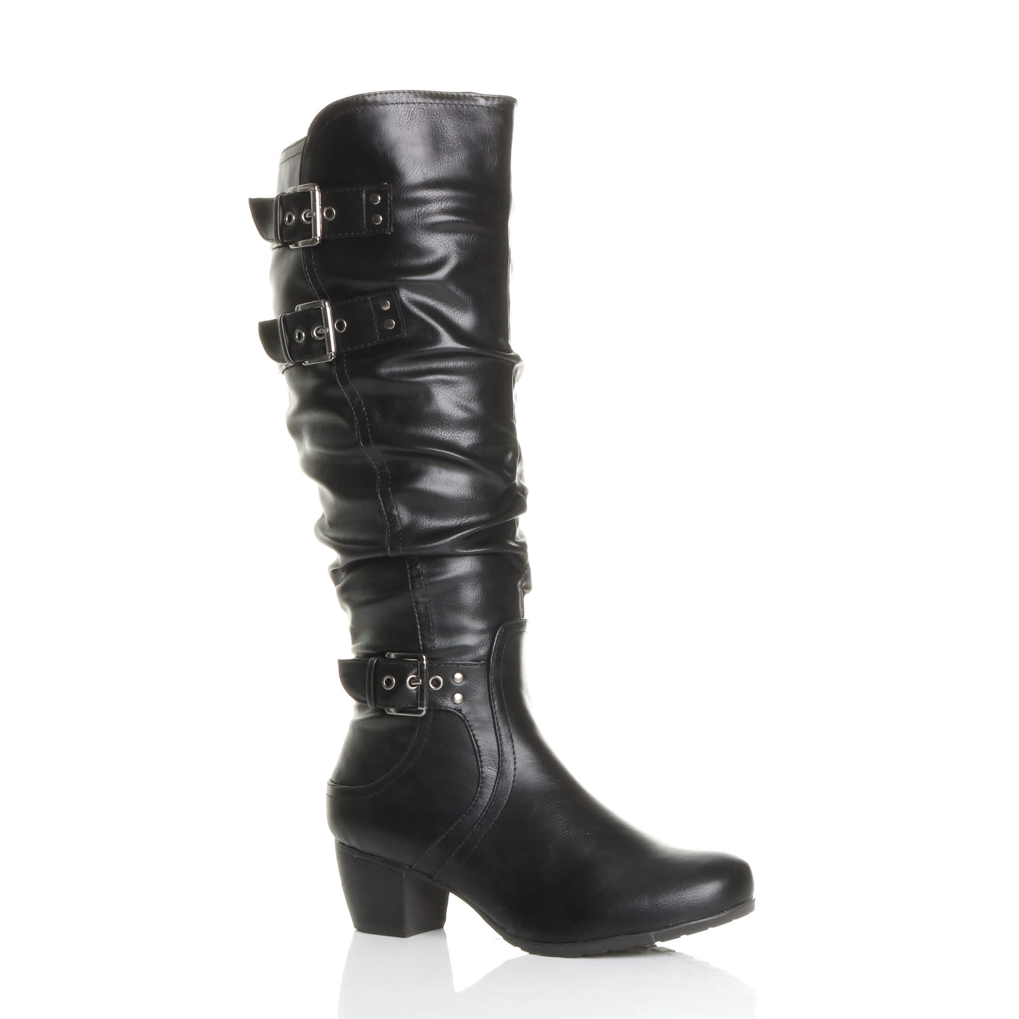 WOMENS-LADIES-MID-LOW-BLOCK-HEEL-BUCKLE-RUCHED-SLOUCH-CALF-KNEE-BOOTS-SIZE