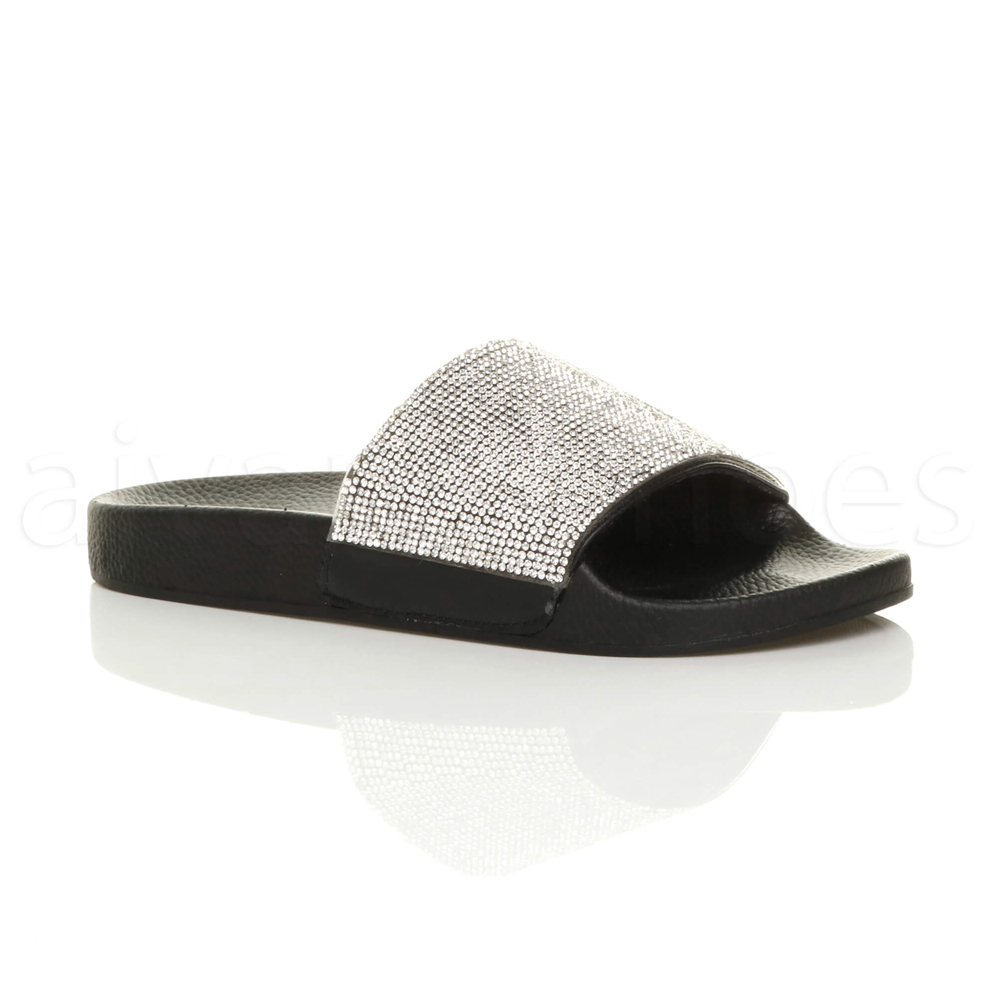 9ff268995 WOMENS LADIES FLAT DIAMANTE SPARKLY SLIDERS SANDALS FLIP FLOPS SLIPPERS SIZE