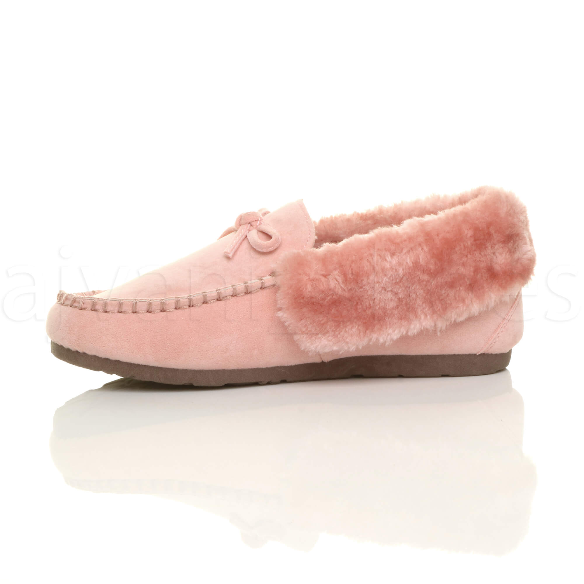 WOMENS-LADIES-FUR-COLLAR-LINED-LUXURY-FLEXIBLE-SOLE-MOCCASINS-SLIPPERS-SIZE