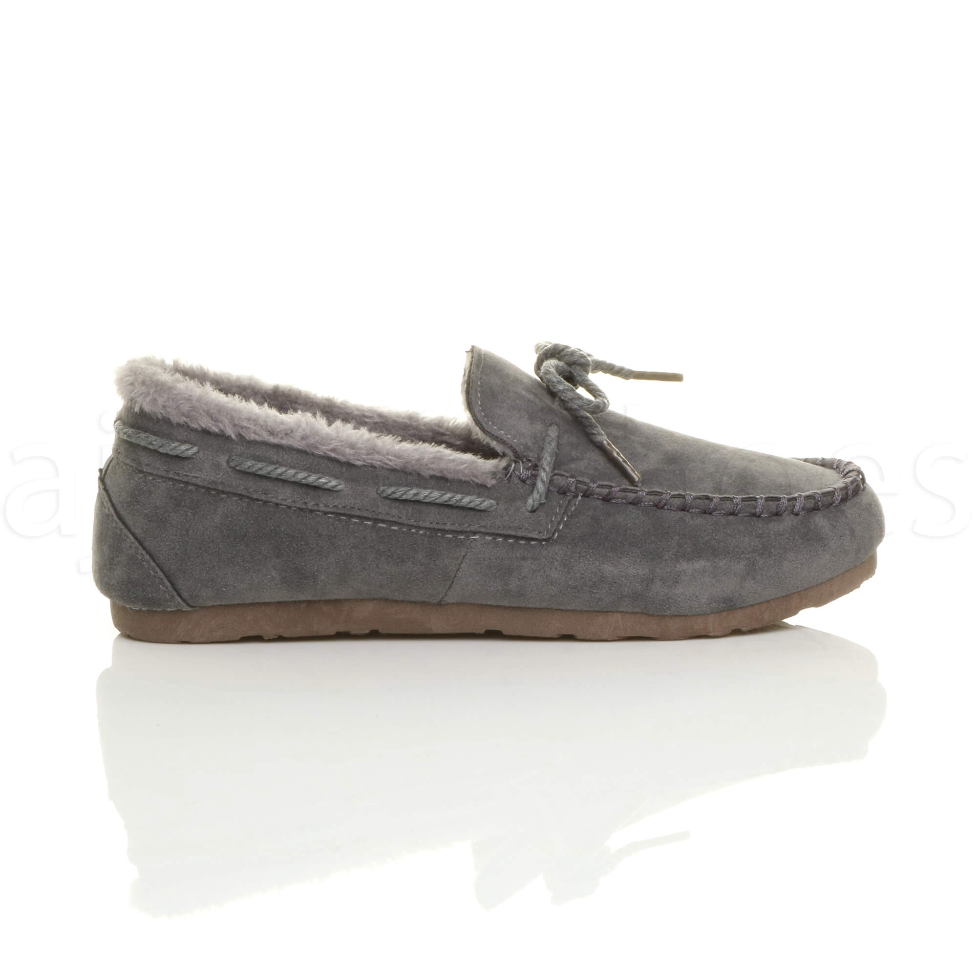 WOMENS-LADIES-FUR-LINED-FLEXIBLE-SOLE-BOW-BOAT-SHOES-MOCCASINS-SLIPPERS-SIZE