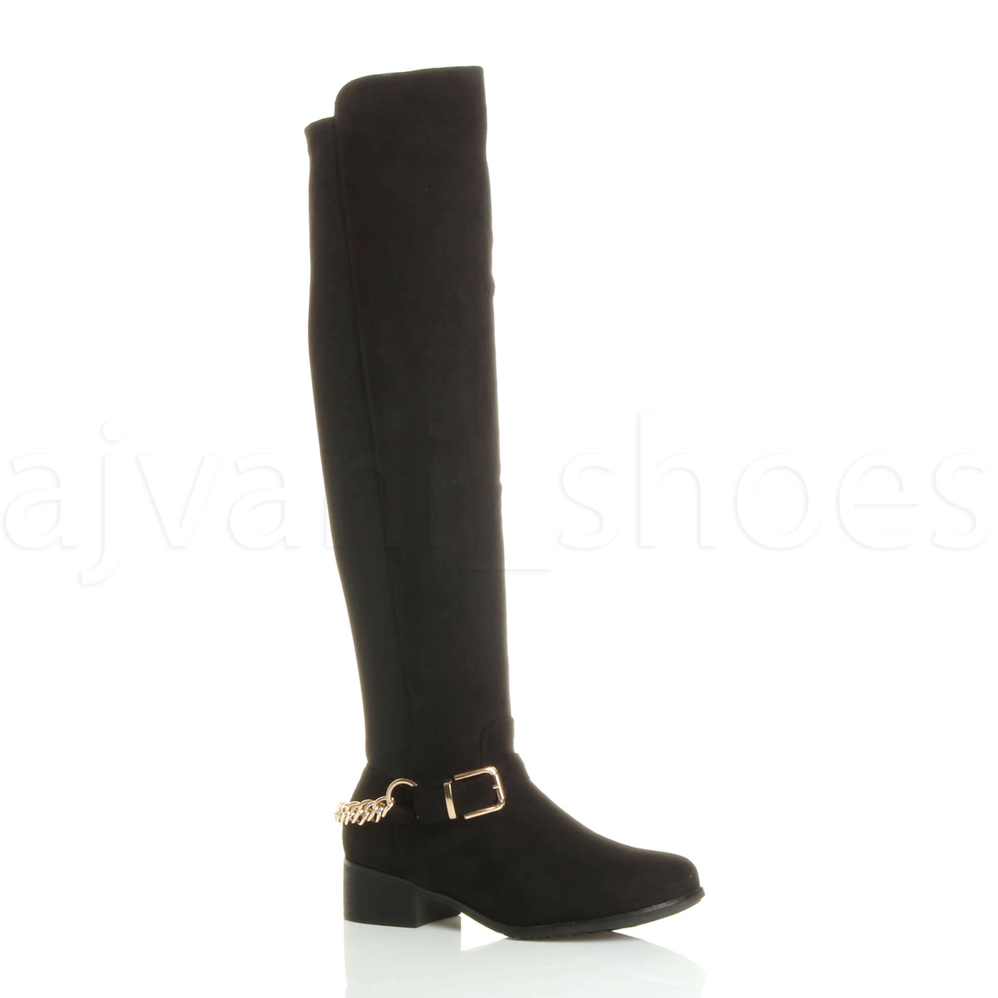 WOMENS-LADIES-HIGH-OVER-THE-KNEE-ELASTIC-STRETCH-PULL-ON-LOW-HEEL-BOOTS-SIZE