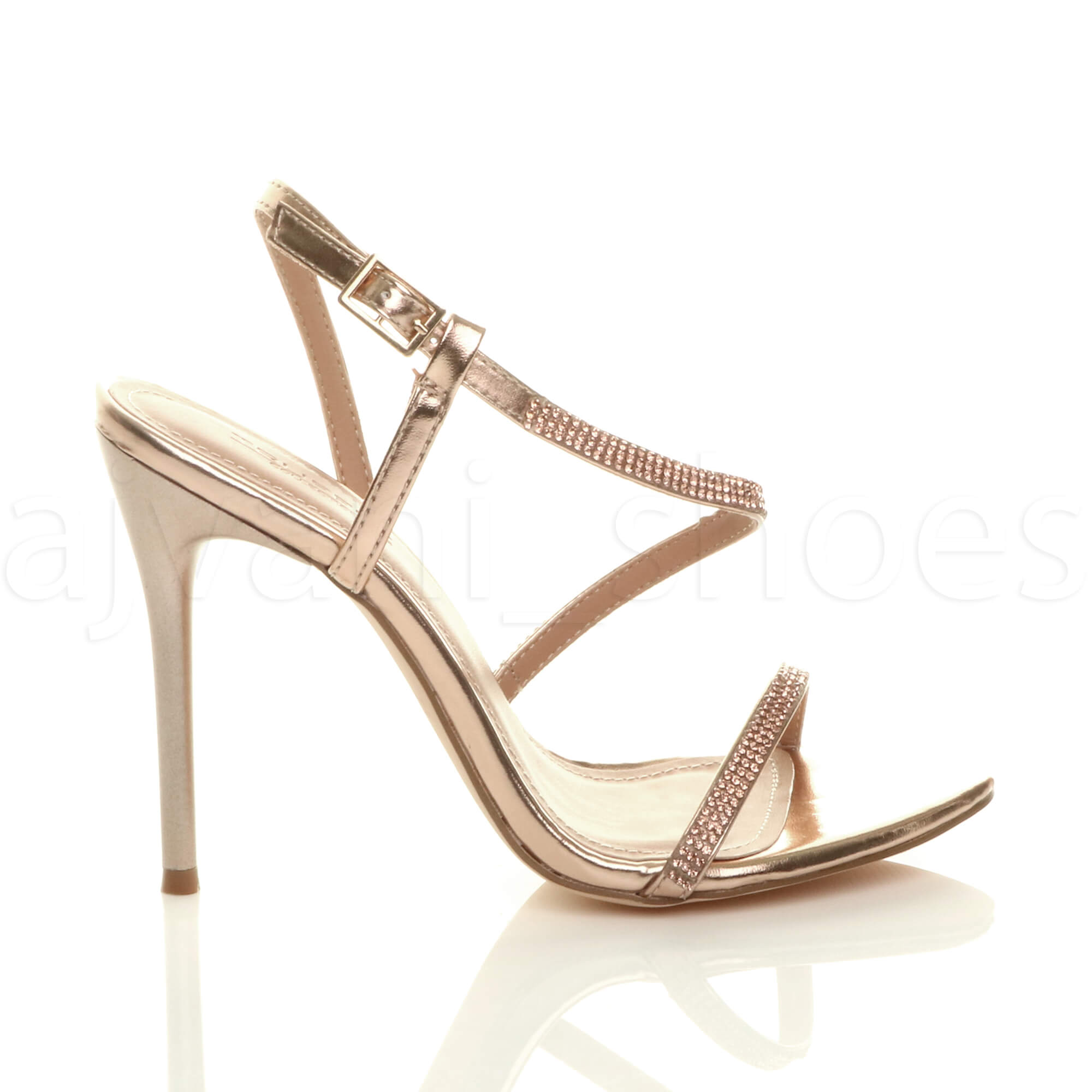 WOMENS-LADIES-HIGH-HEEL-DIAMANTE-BARELY-THERE-STRAPPY-EVENING-SANDALS-SIZE thumbnail 11