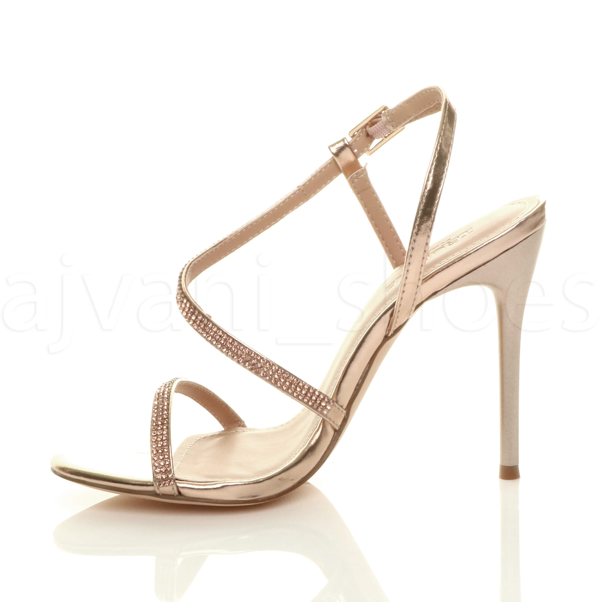 WOMENS-LADIES-HIGH-HEEL-DIAMANTE-BARELY-THERE-STRAPPY-EVENING-SANDALS-SIZE thumbnail 12
