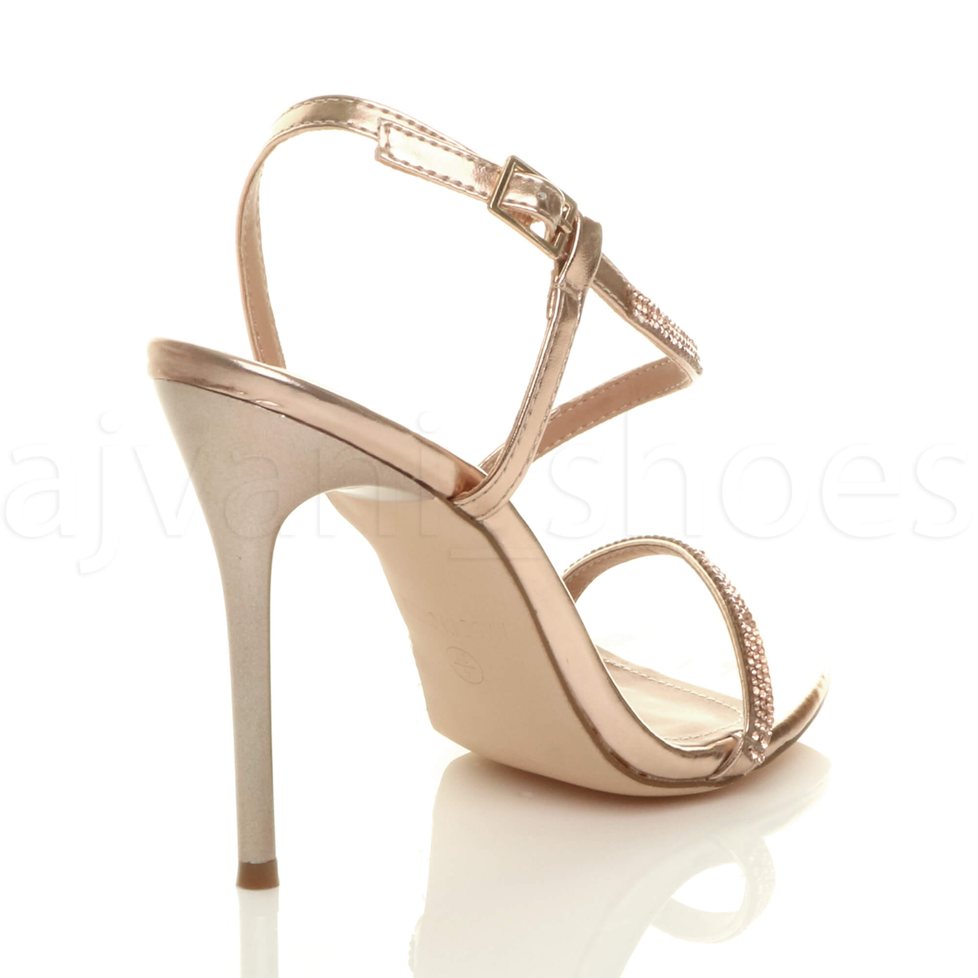 WOMENS-LADIES-HIGH-HEEL-DIAMANTE-BARELY-THERE-STRAPPY-EVENING-SANDALS-SIZE thumbnail 13