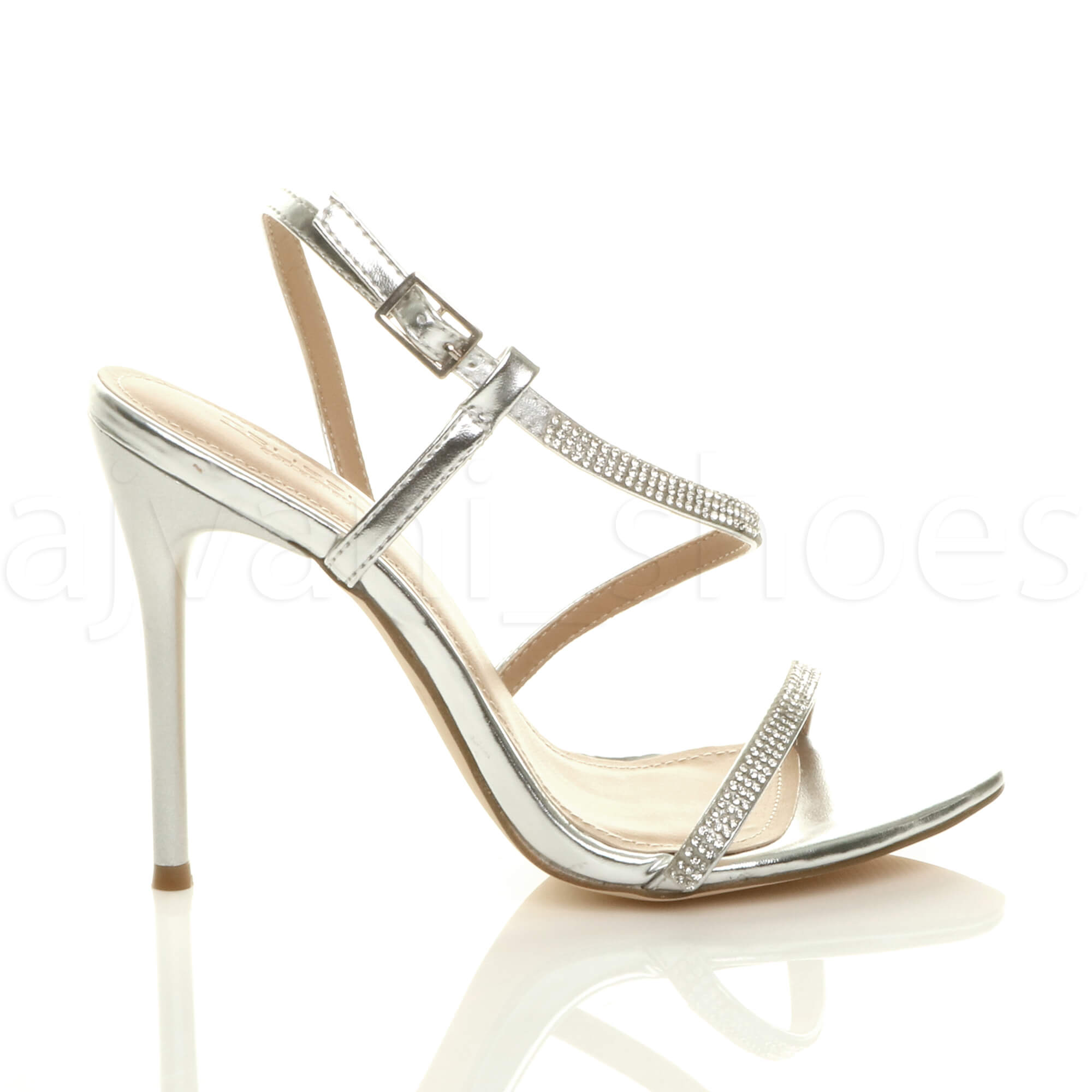 WOMENS-LADIES-HIGH-HEEL-DIAMANTE-BARELY-THERE-STRAPPY-EVENING-SANDALS-SIZE thumbnail 19