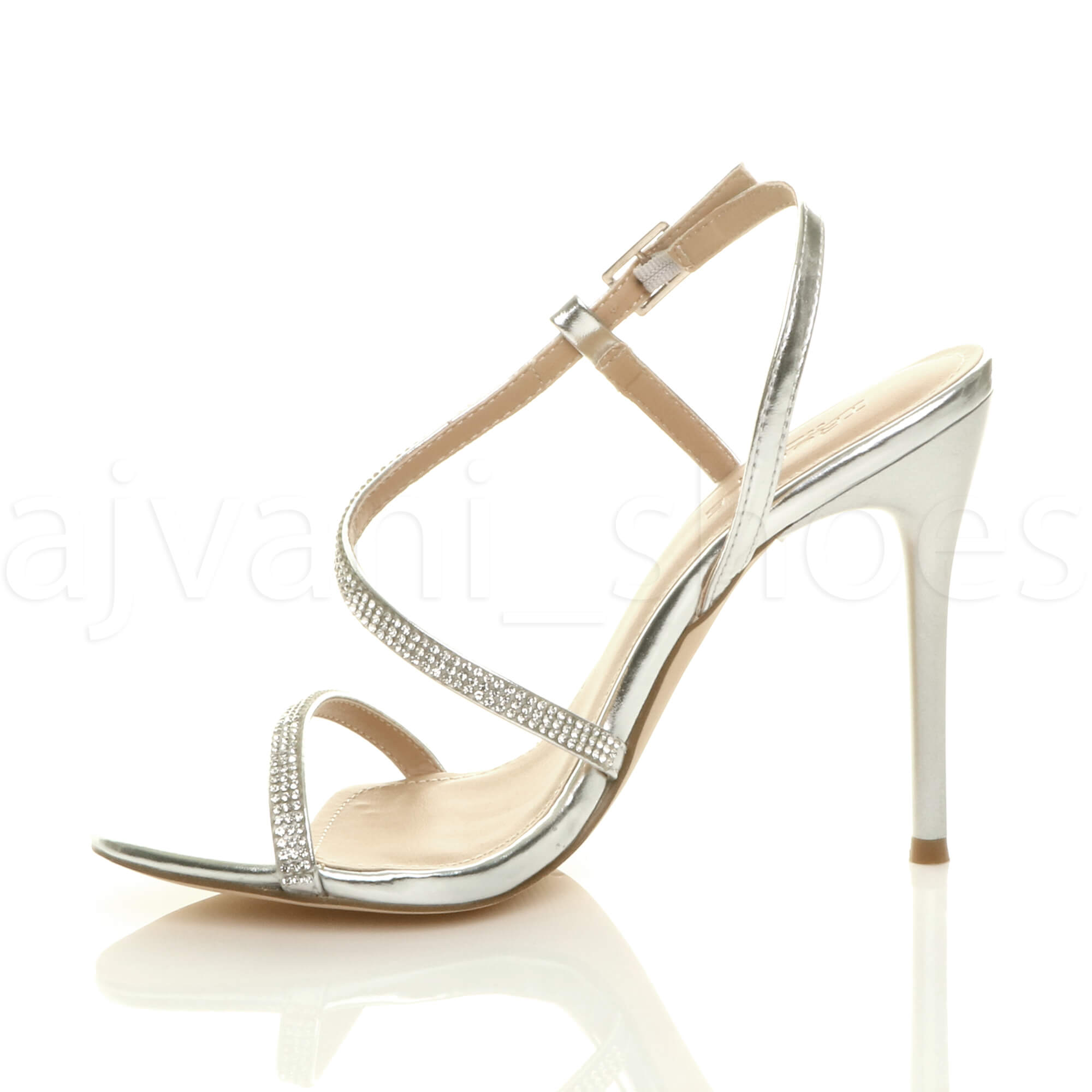 WOMENS-LADIES-HIGH-HEEL-DIAMANTE-BARELY-THERE-STRAPPY-EVENING-SANDALS-SIZE thumbnail 20
