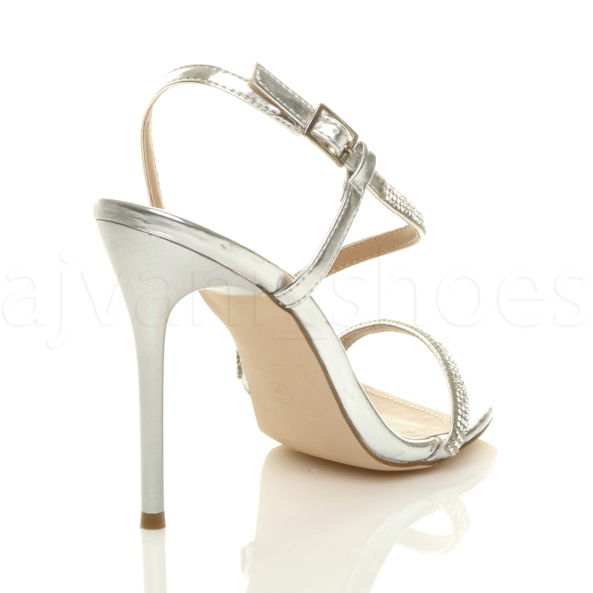 WOMENS-LADIES-HIGH-HEEL-DIAMANTE-BARELY-THERE-STRAPPY-EVENING-SANDALS-SIZE thumbnail 21