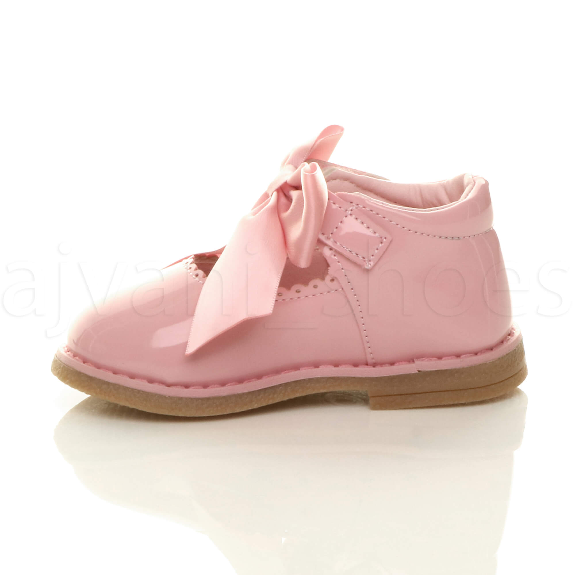 GIRLS-KIDS-CHILDRENS-INFANT-MARY-JANE-SCALLOPED-RIBBON-BOW-SHOES-SIZE
