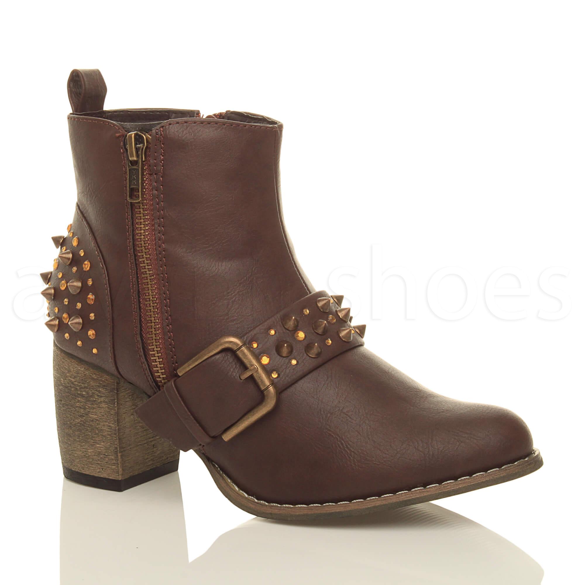 womens studded spiked mid block heel western cowboy