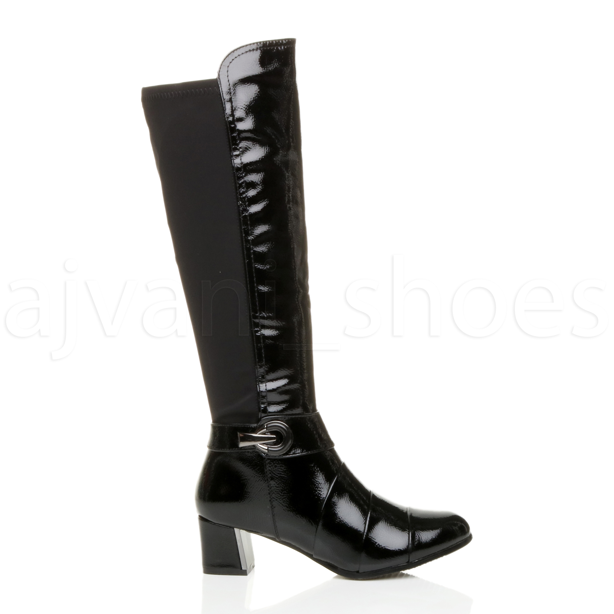 WOMENS-LADIES-MID-FLARED-BLOCK-HEEL-ZIP-BUCKLE-STRETCH-LAYERED-CALF-BOOTS-SIZE
