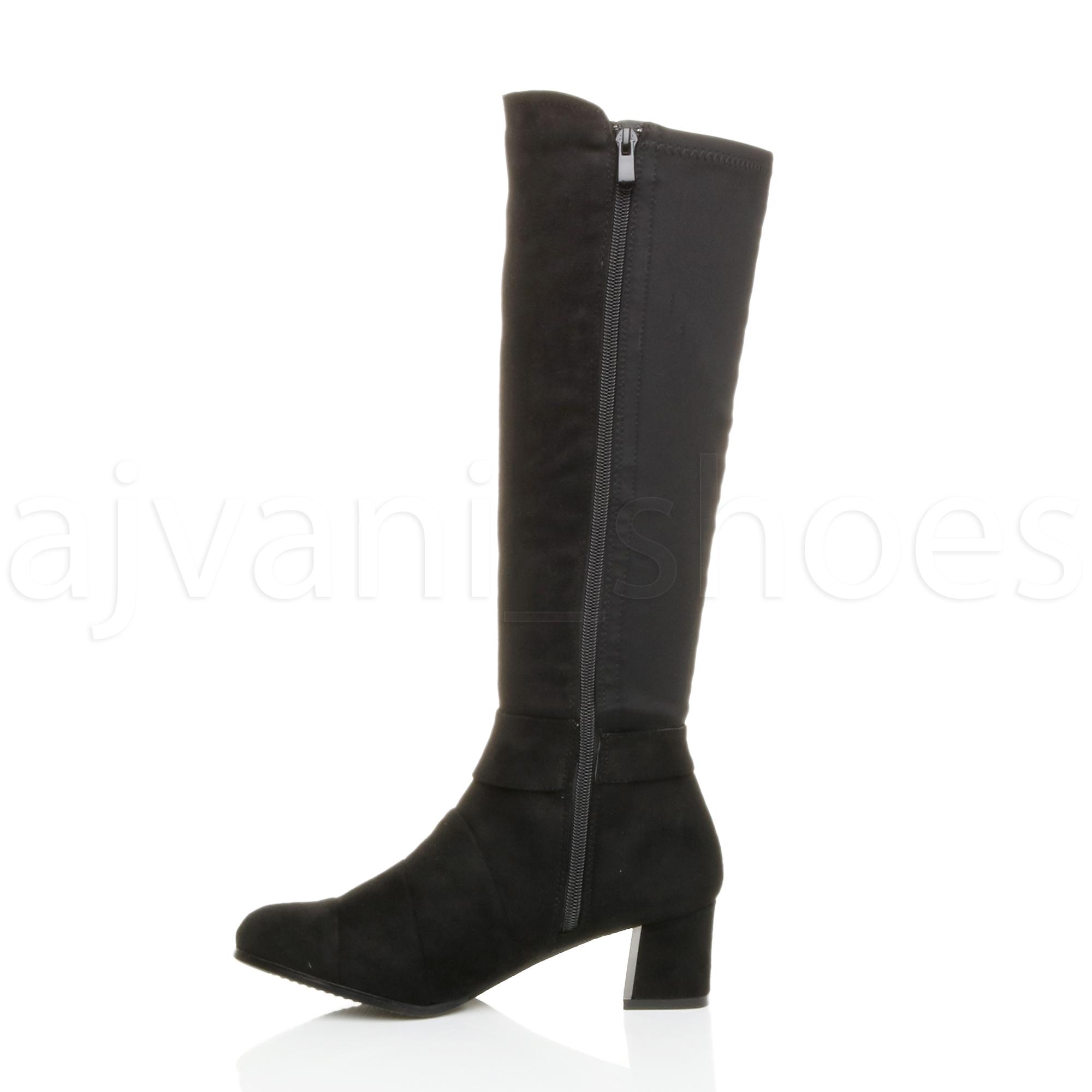 Damen Damen Damen Mittelblockabsatz Reißverschluss Elastisch Schicht Wadenhohe Stiefel Größe b62fd0