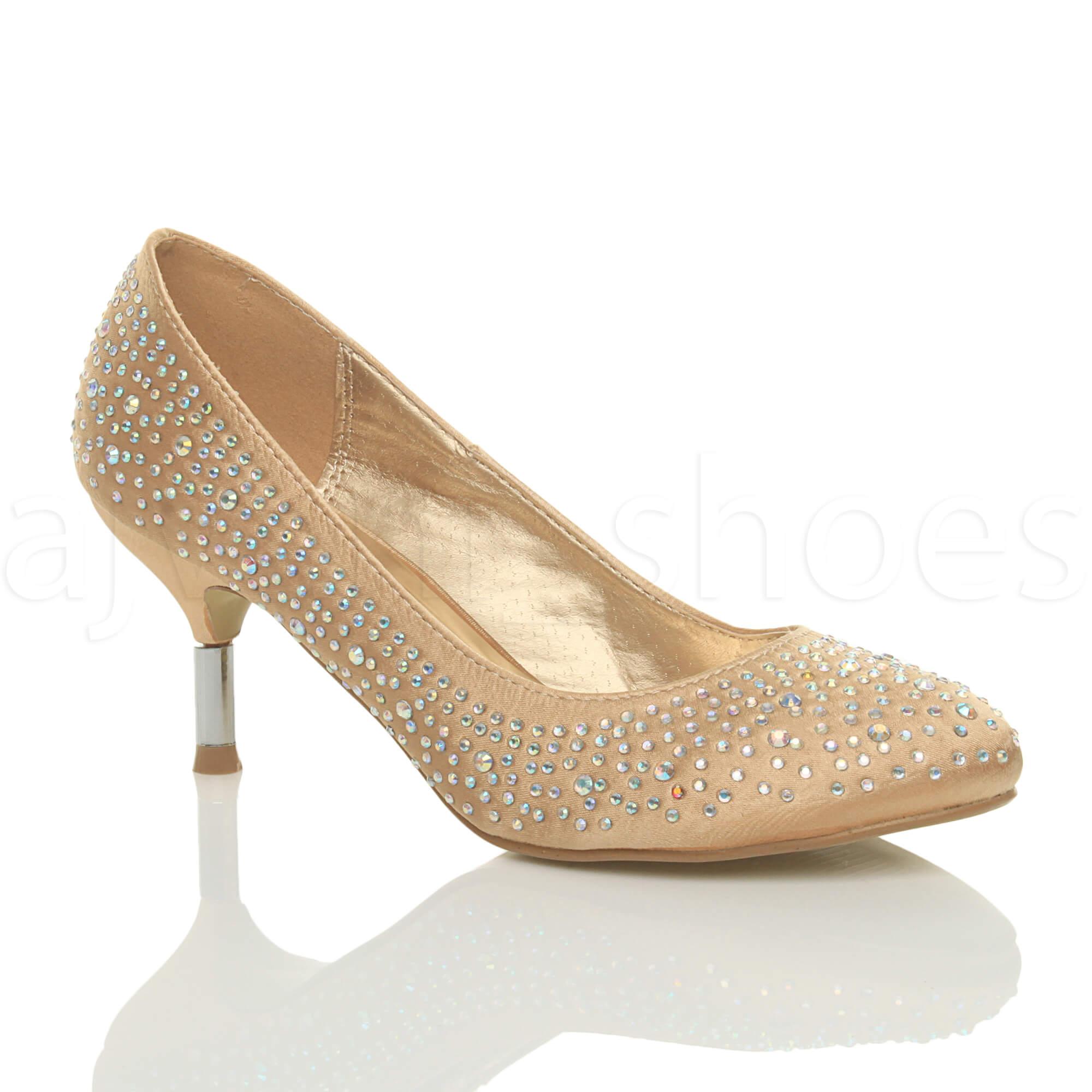 Womens Wedding Shoes: WOMENS LADIES MID KITTEN HEEL WEDDING BRIDESMAID PROM